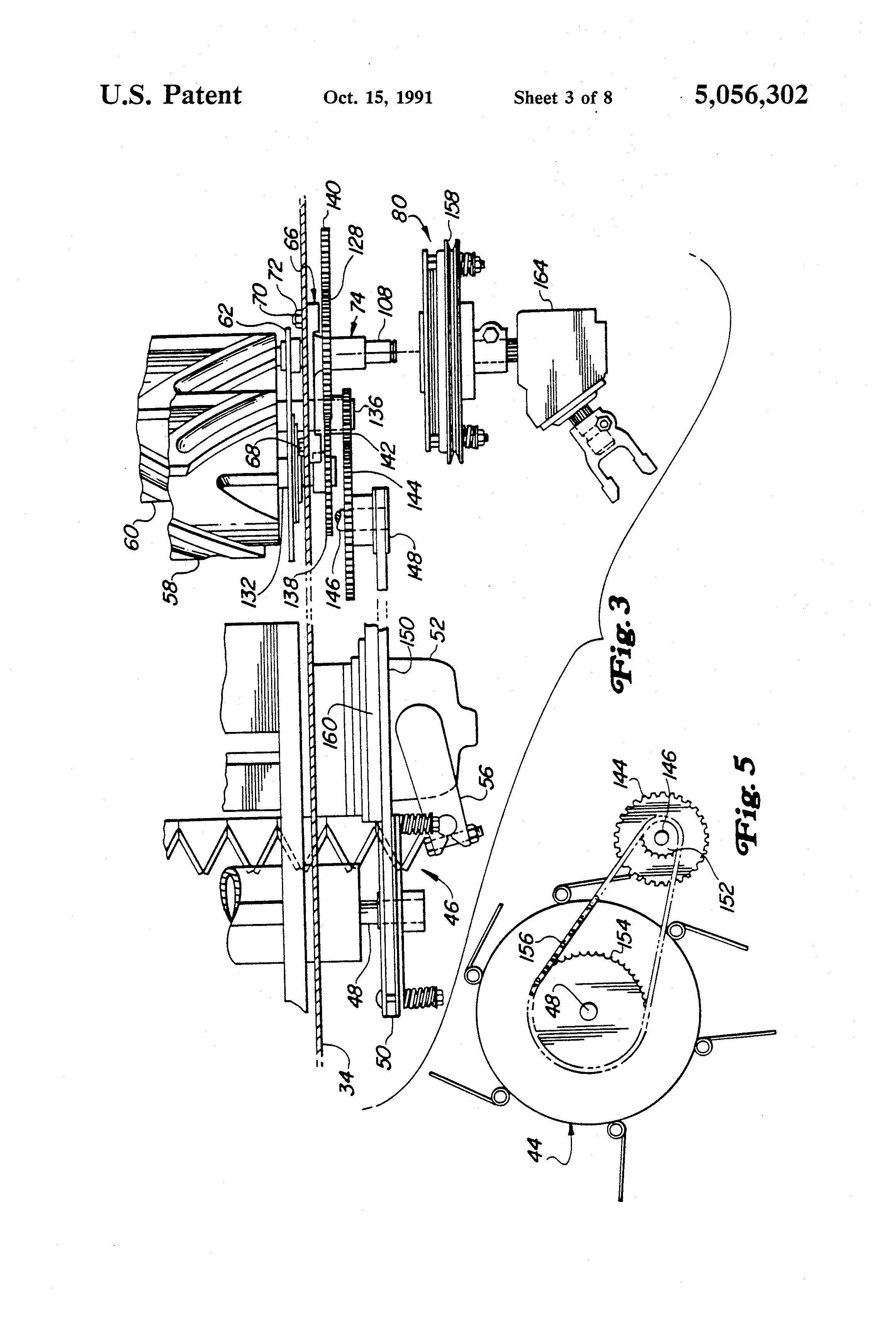 Patente Us5056302 Mower Conditioner Drive System Google Patentes John Deere 735 Wiring Diagram Patent Drawing