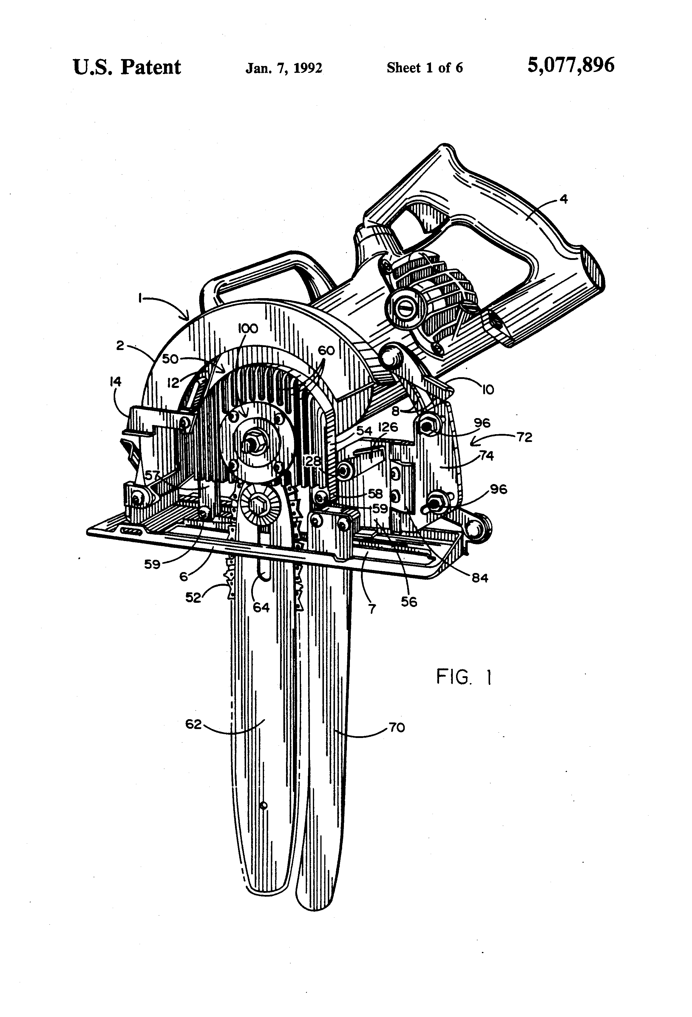 Patent Us5077896 Adapter For Converting A Circular Saw