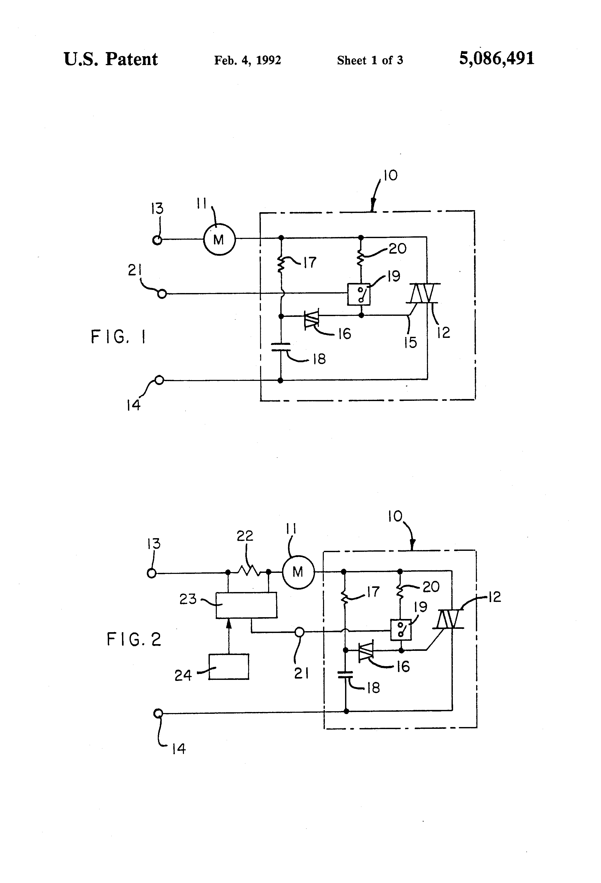 Patent Us5086491 Electronic Control Circuit For A C Motors Diac Triac Phase Power Without Hysteresis Drawing