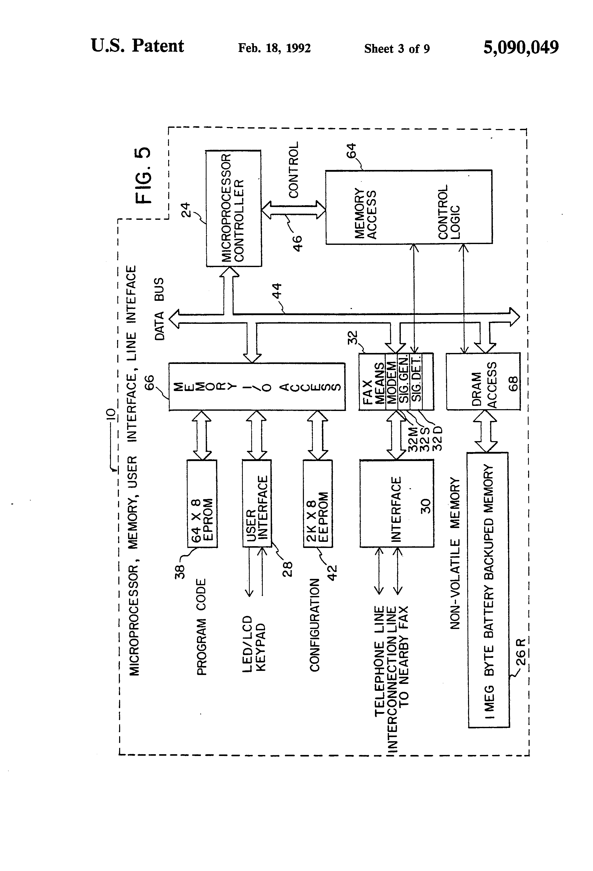 patent us5090049 - fax message recorder and relay system and method