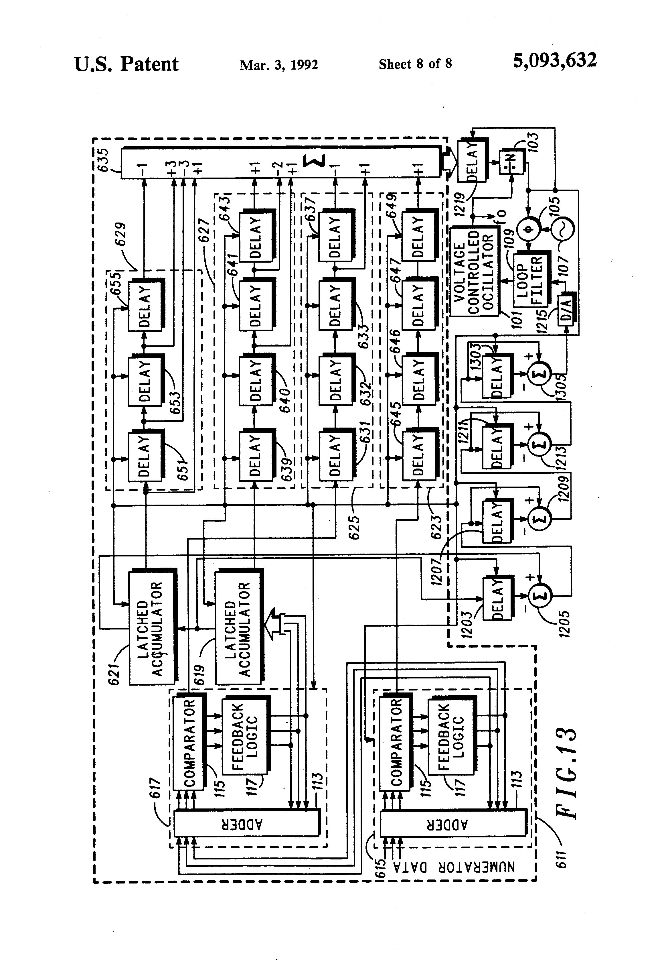 Patent Us5093632 Latched Accumulator Fractional N Synthesis With Latch Logic Diagram Including Latching Circuit Drawing