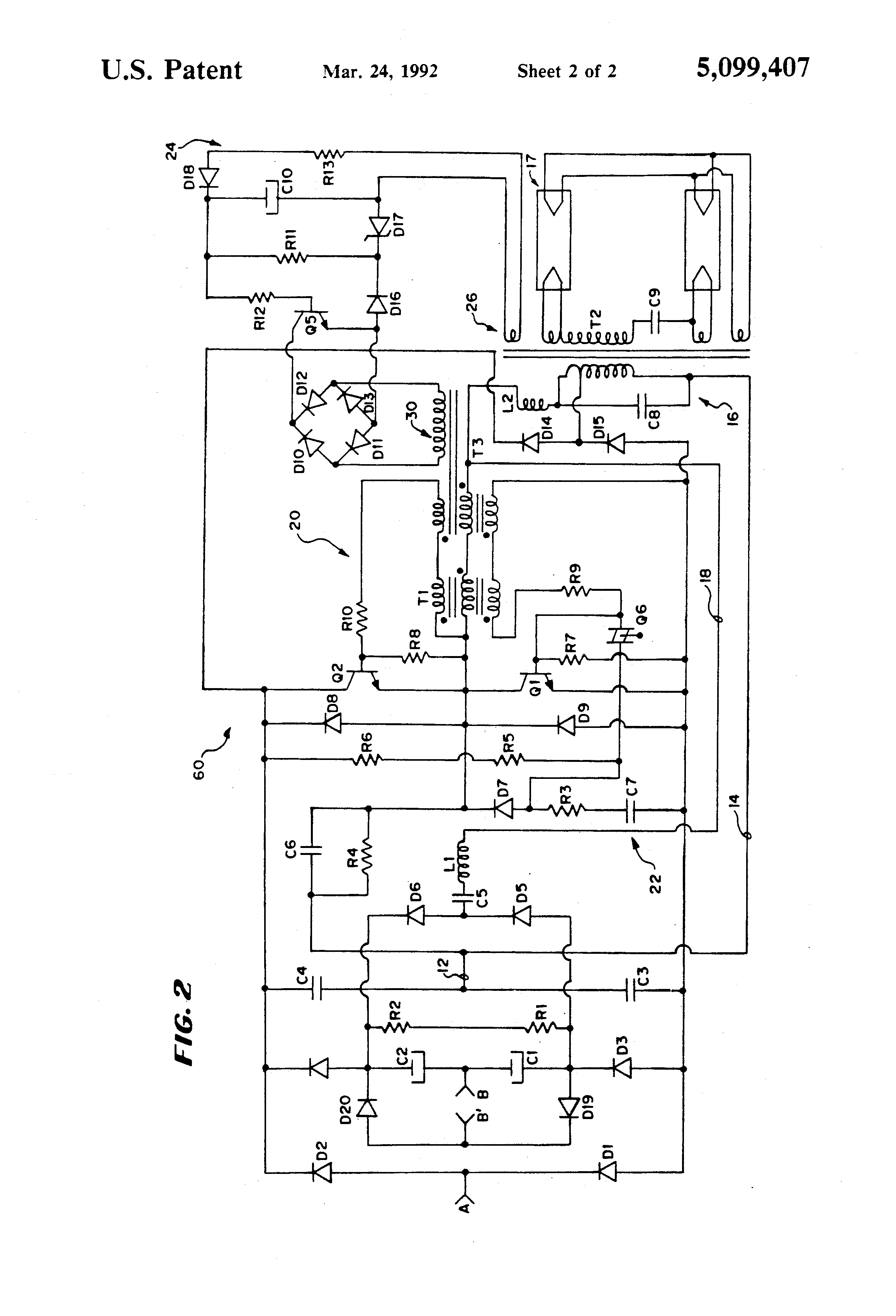 Patent Us5099407 Inverter With Power Factor Correction Circuit 40w Fluorescent Lamp Diagram Drawing