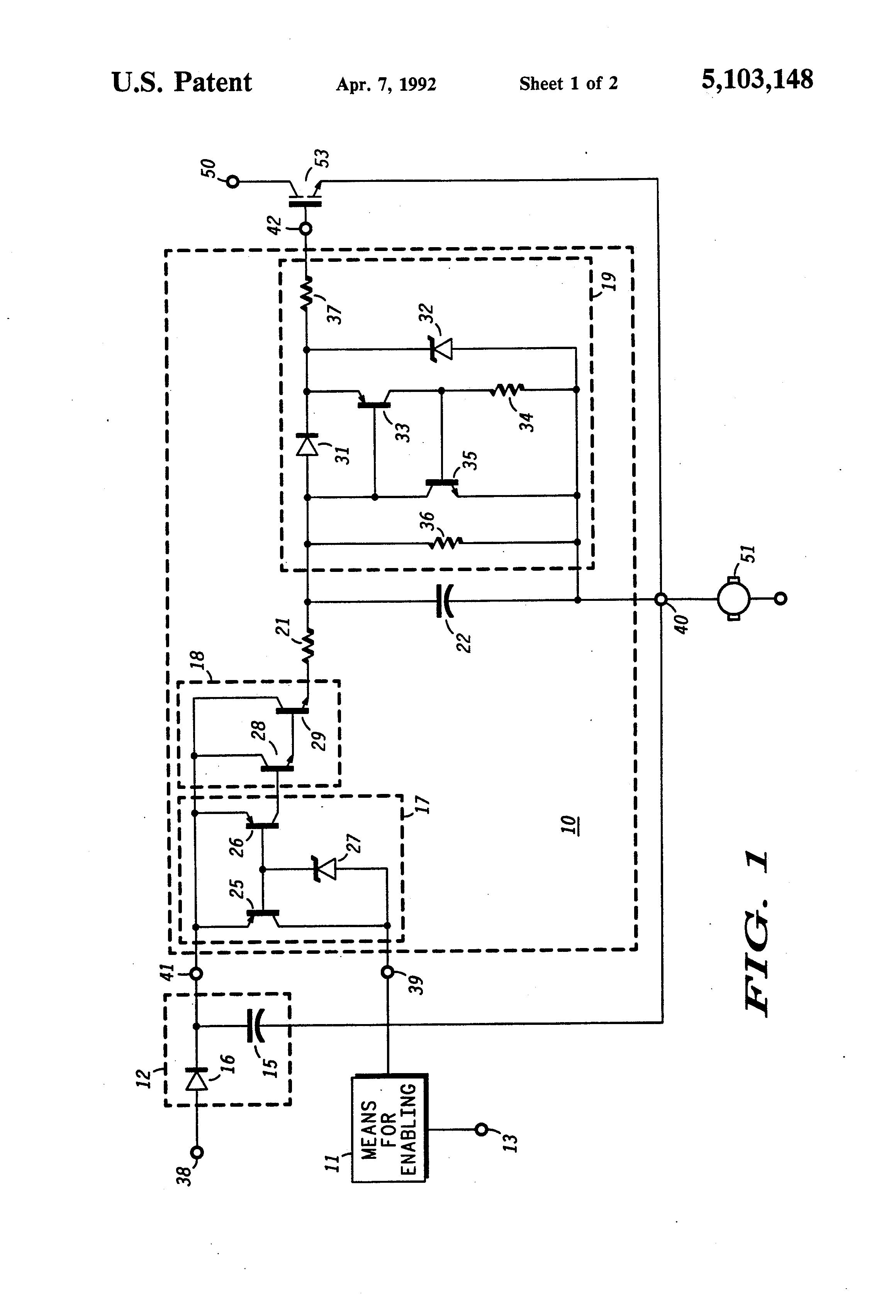 Brevet US5103148 - Low voltage circuit to control high voltage