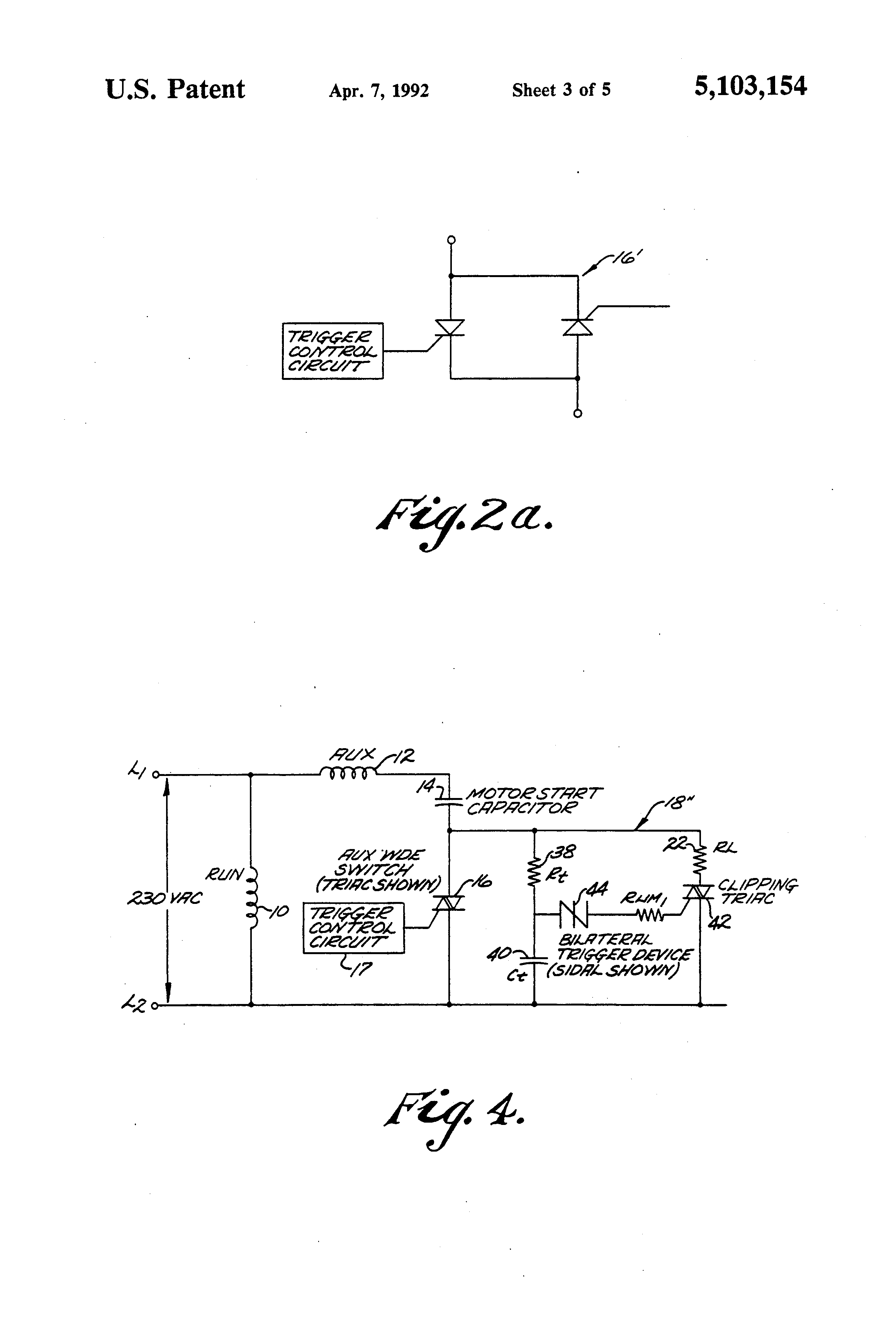 Patent Us5103154 Start Winding Switch Protection Circuit Google Diac Triac Phase Power Control Without Hysteresis Drawing