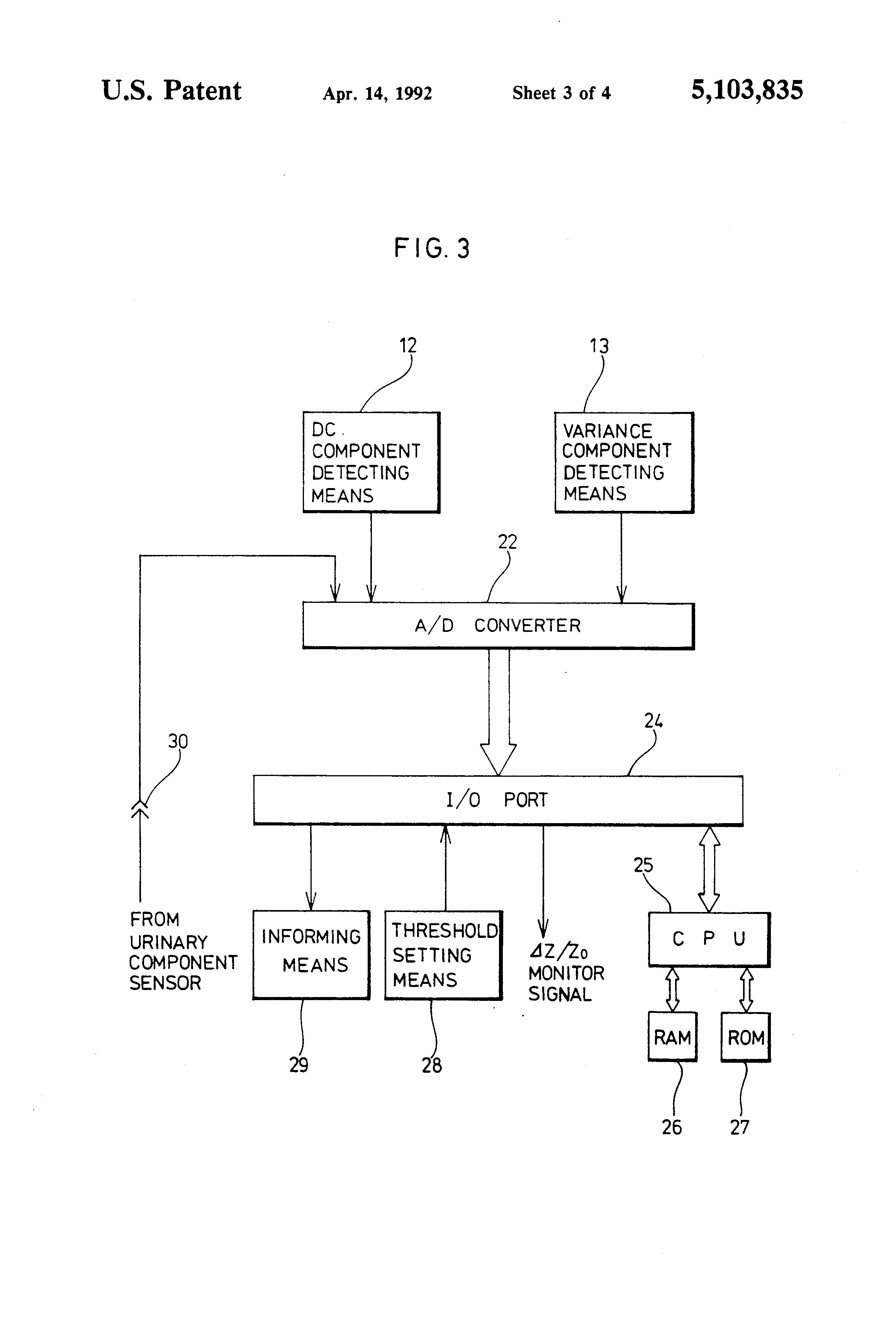 Patent Us5103835 Impedance Monitoring Device For Preventing 1992 Saturn Sl1 Engine Diagram Drawing