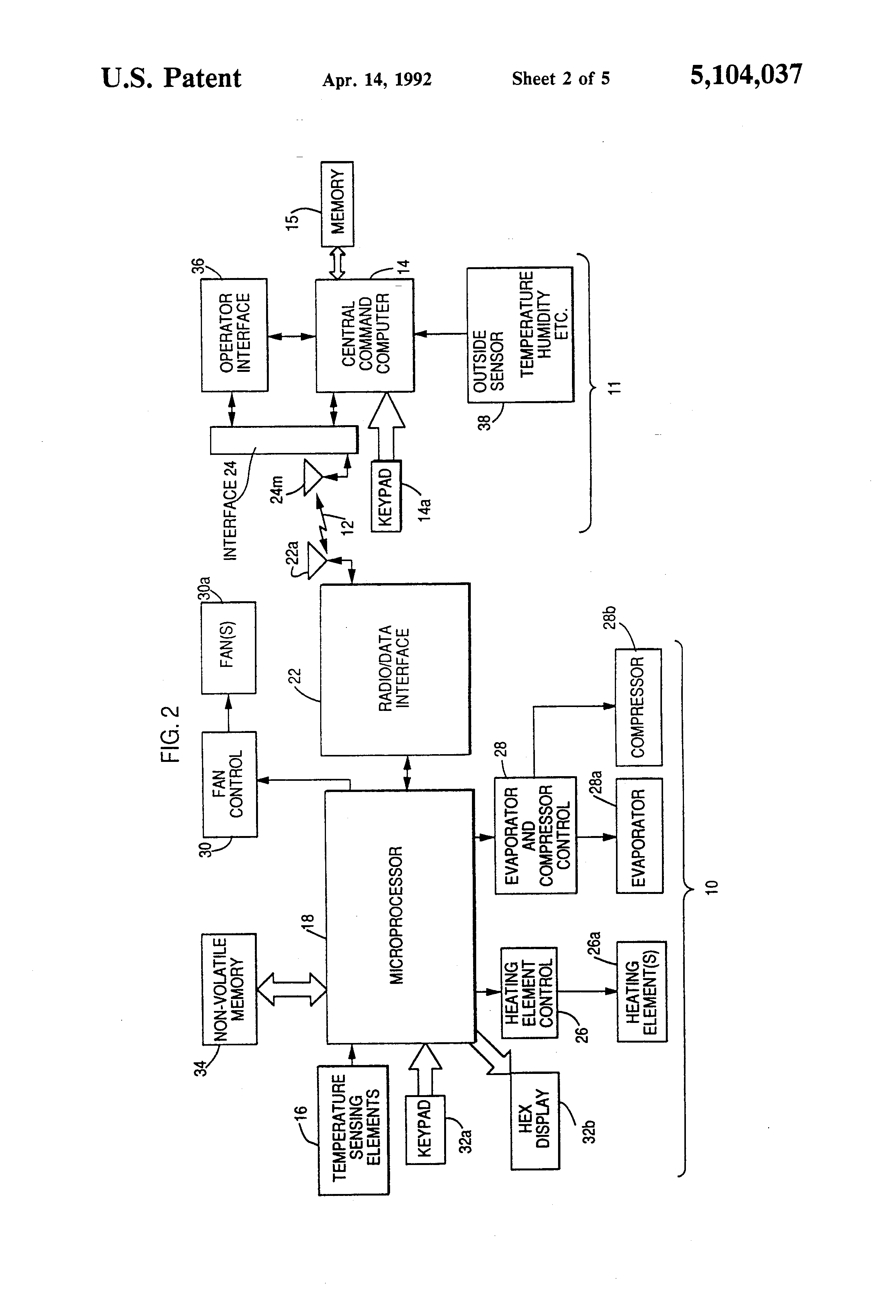 Patent Us5104037 Microprocessor Controlled Climate Control Device Exhausto Fan Wiring Schematic Drawing