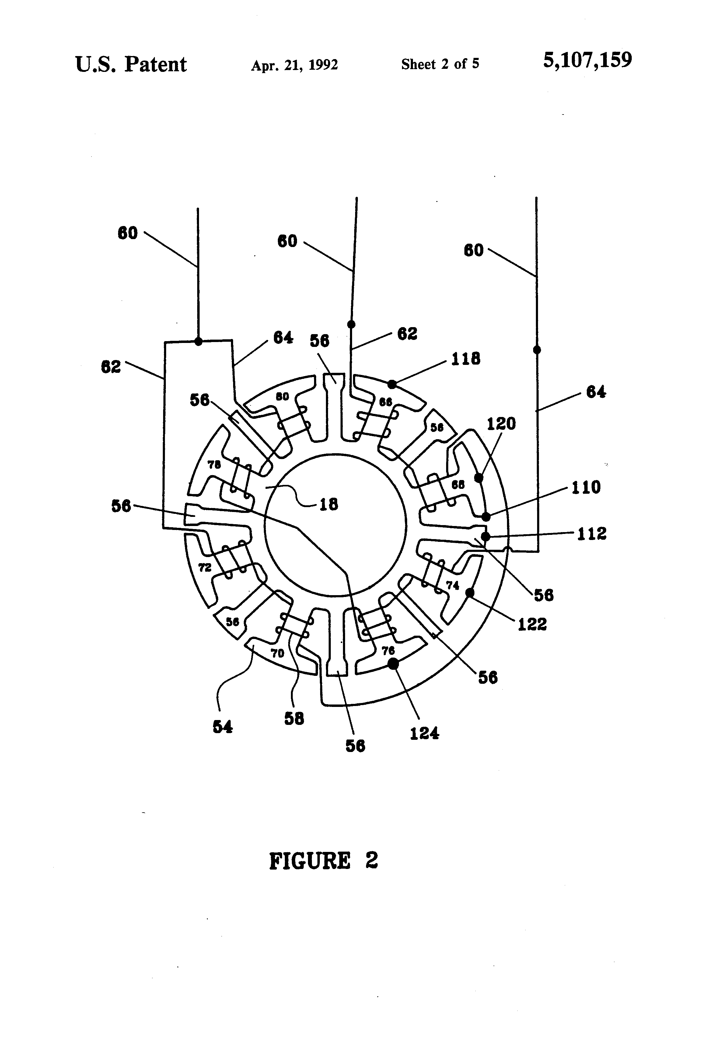 Patent Us5107159 Brushless Dc Motor Assembly With