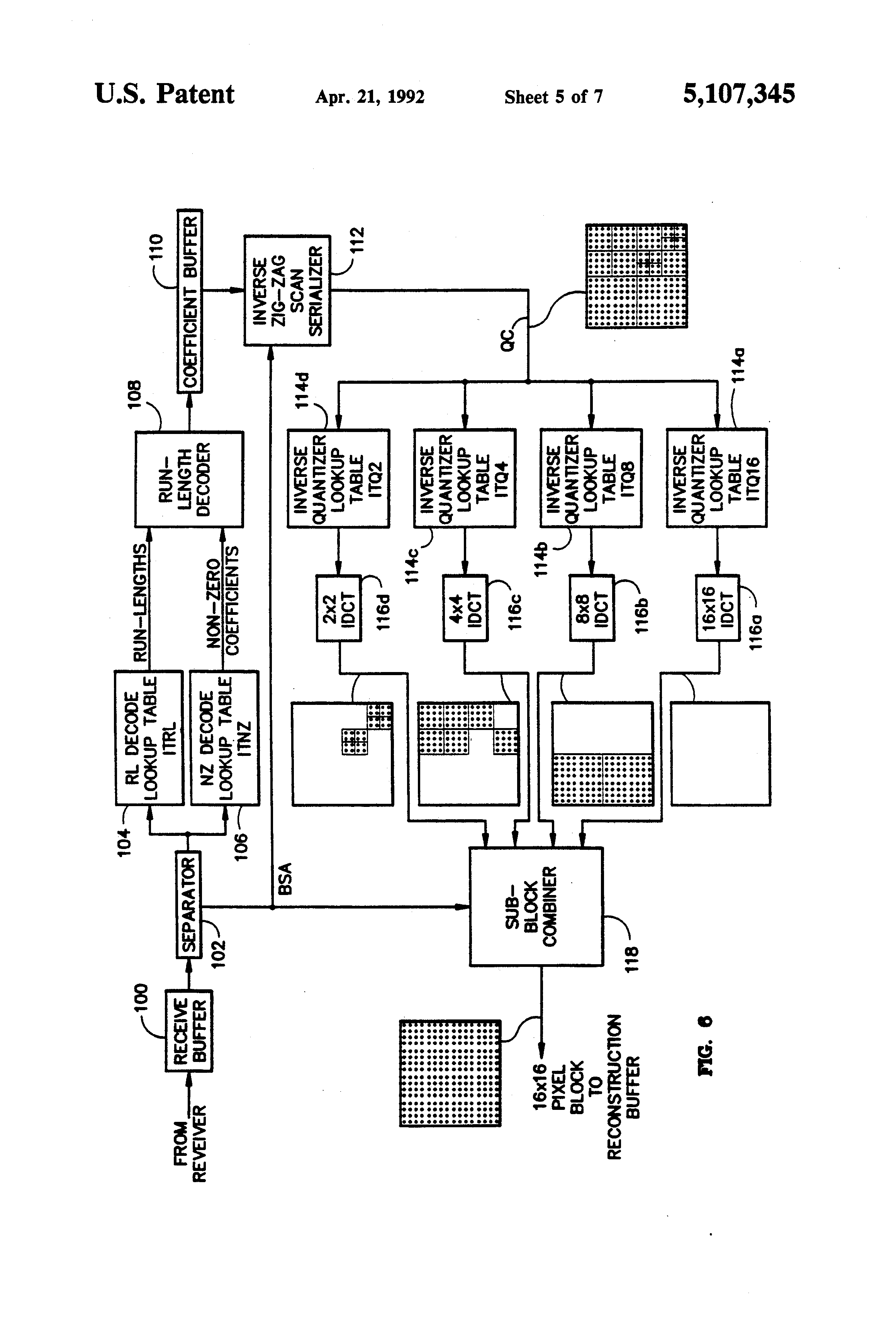 Patent Us5107345 Adaptive Block Size Image Compression Method And F G Diagram Drawing