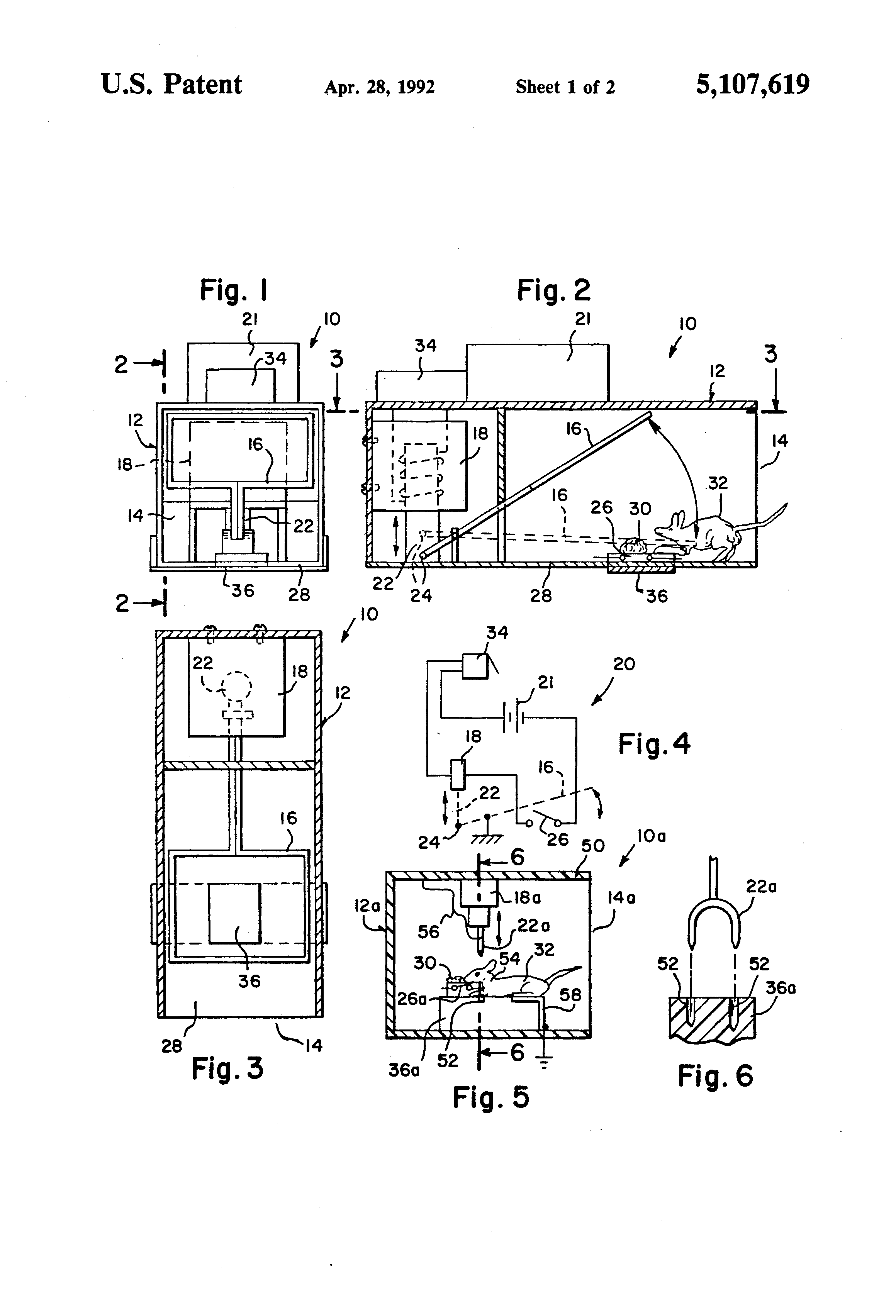 Patent Us5107619 Electric Mouse Trap Google Patents
