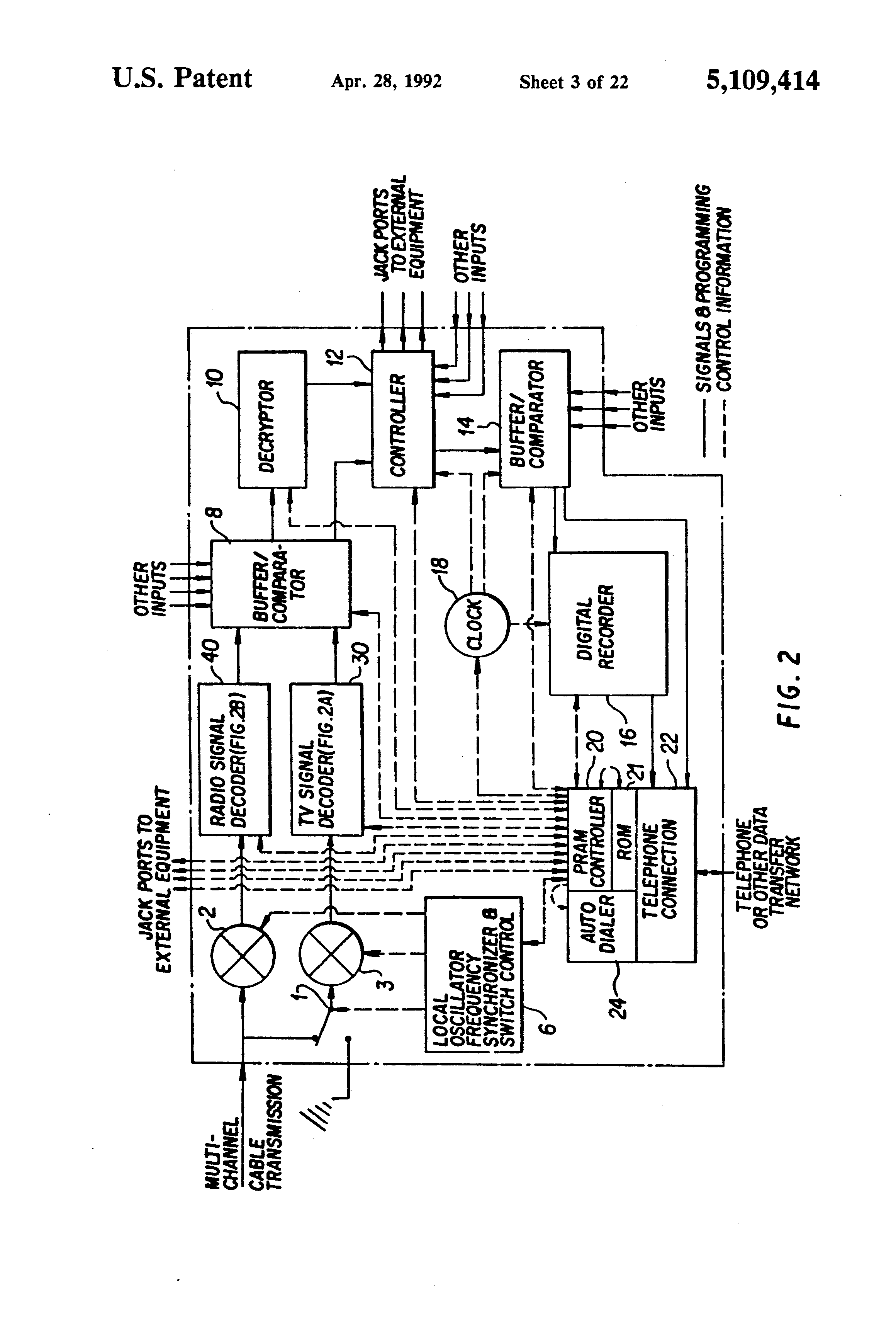 Us5109414a Signal Processing Apparatus And Methods Google Patents Air Compressor Wiring Diagram Schematic Sharp Energy Saver