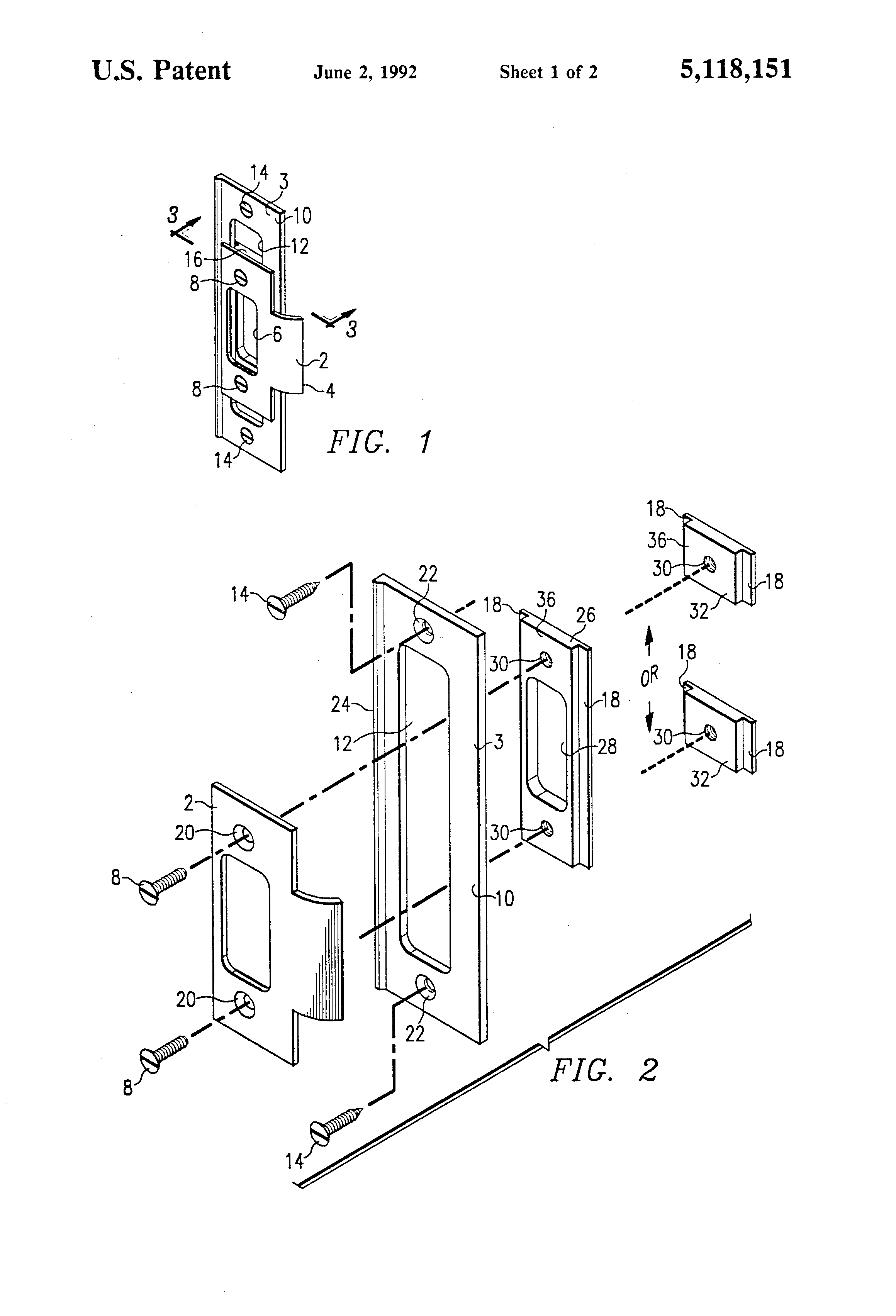 Patent Us5118151 Adjustable Door Strike And Mounting Template