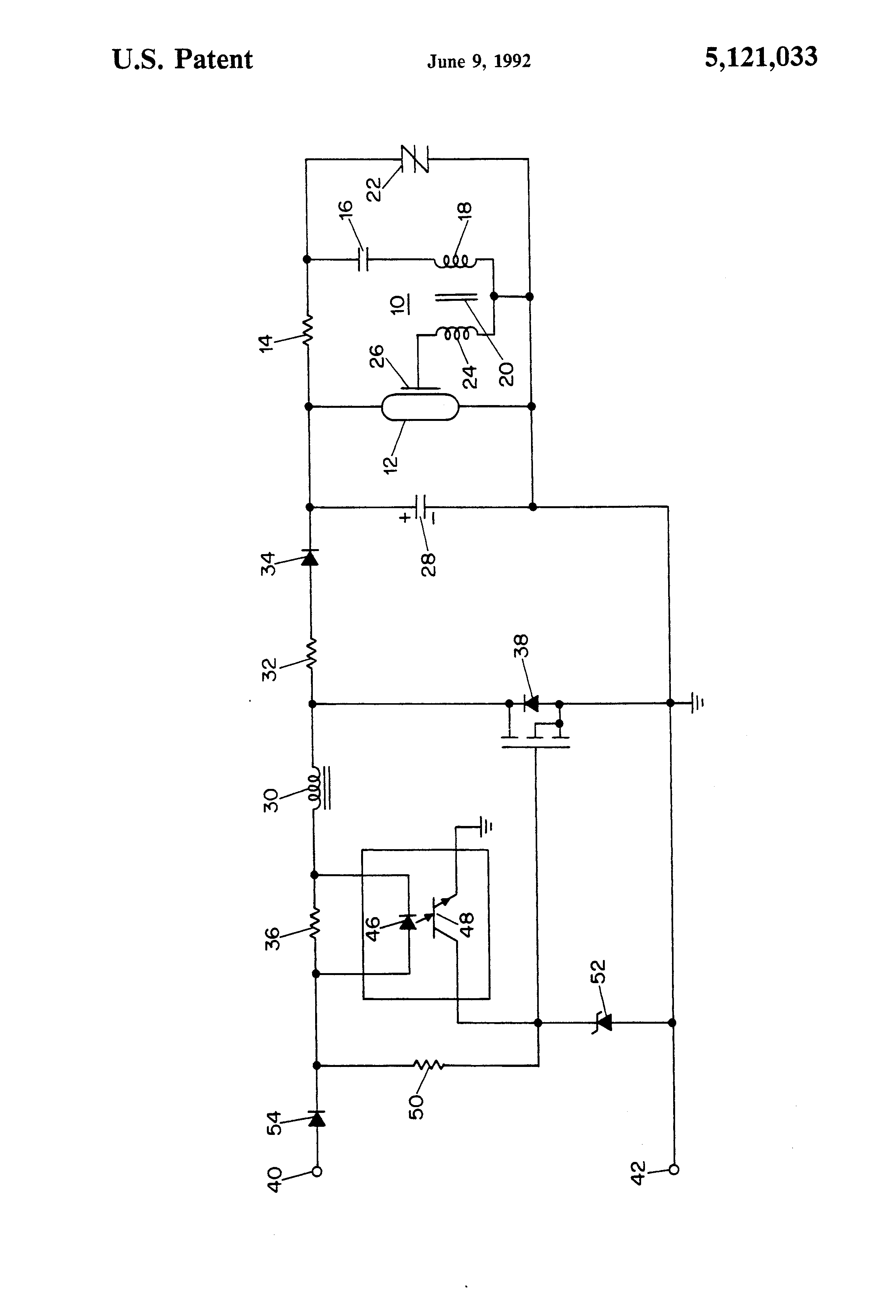 Patente Us5121033 Strobe Circuit Utilizing Optocoupler In Dc To Schematic Of Basic Patent Drawing