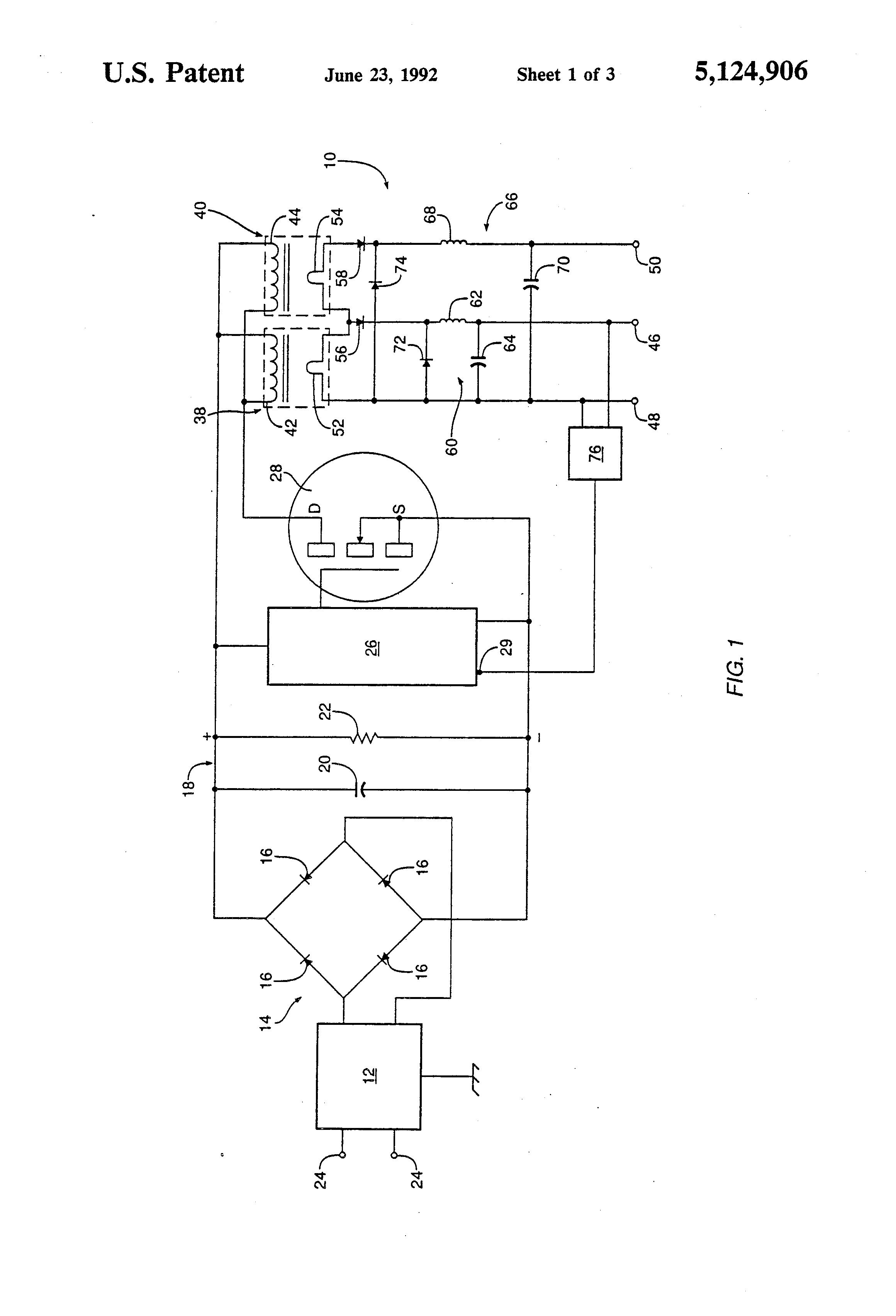 براءة الاختراع us5124906 multiple transformer switch mode power