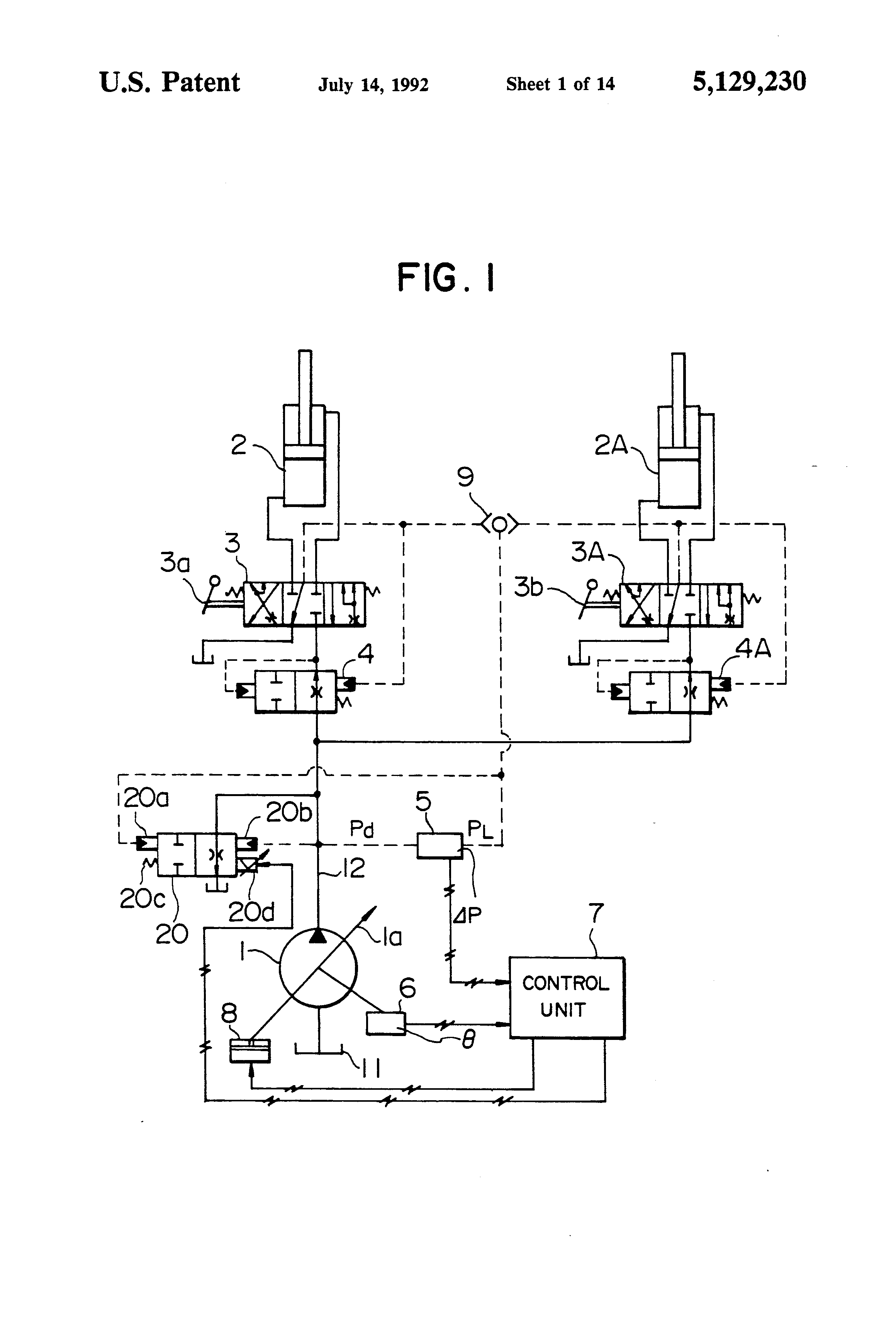 Patent Us5129230 Control System For Load Sensing Hydraulic Drive This Application Diagram Indicates How Loadsensing Valves Drawing