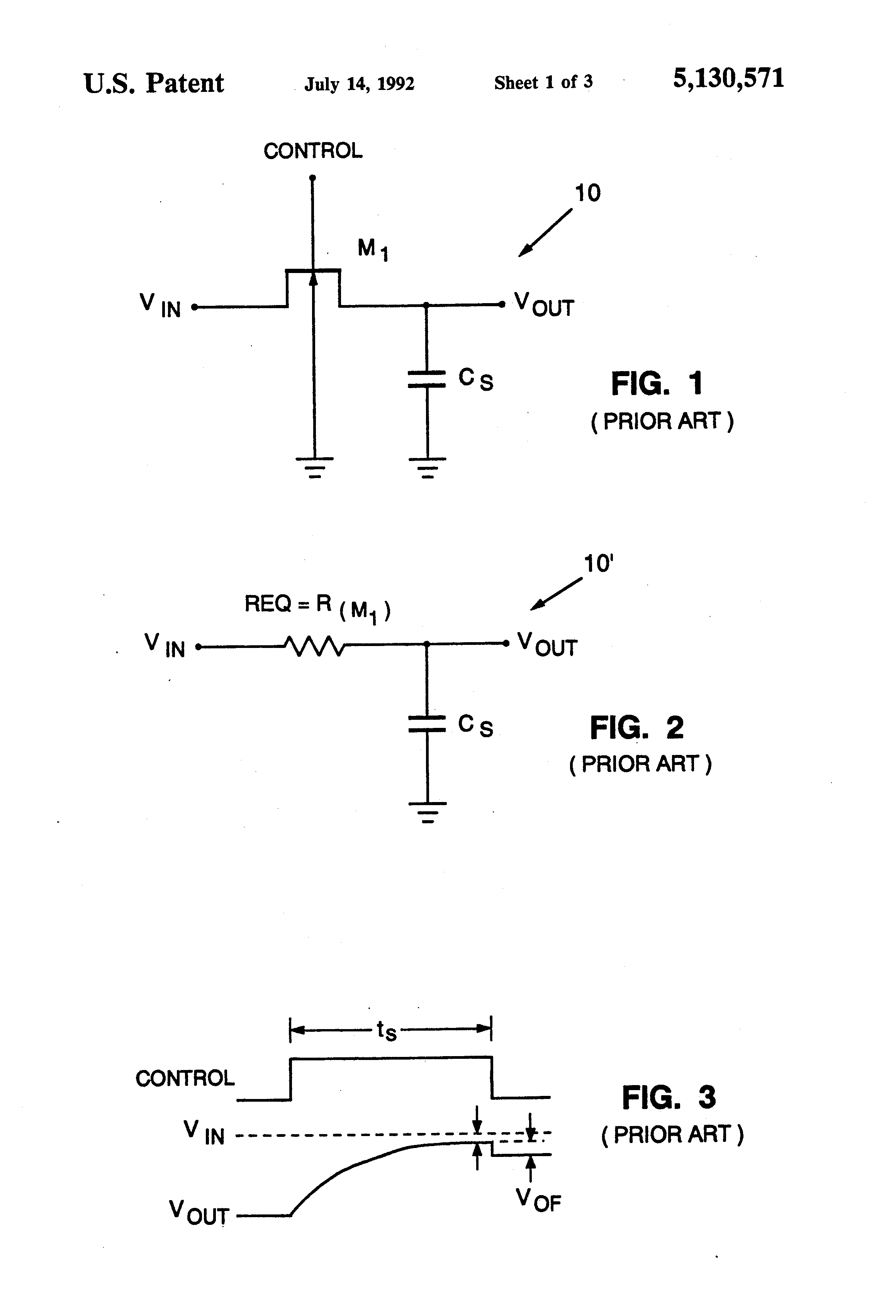 Patent Us5130571 Optimizing Speed And Charge Injection Parameters Rc Circuits Charging Drawing