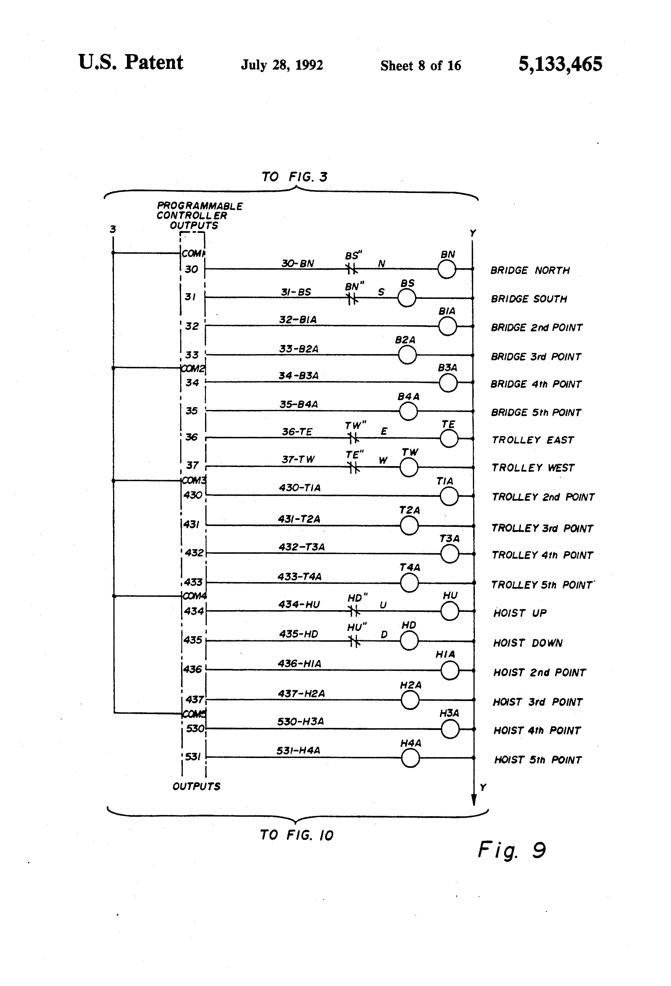 Patent US5133465 Bridge crane electric motor control