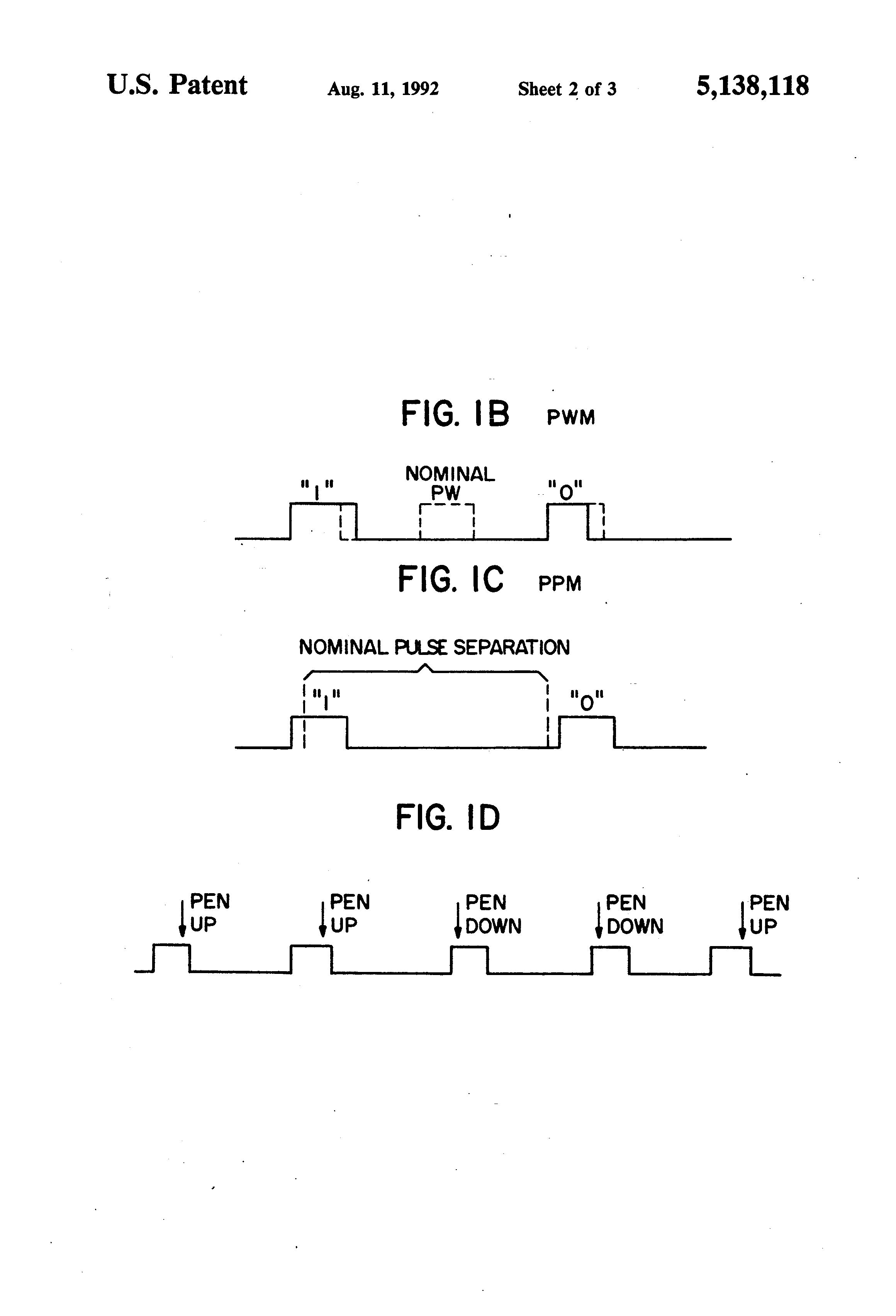 Patent Us5138118 Pulsed Pen For Use With A Digitizer Tablet Pulse Position Modulated By Multiplexor Modulator Demodulator Circuit Drawing