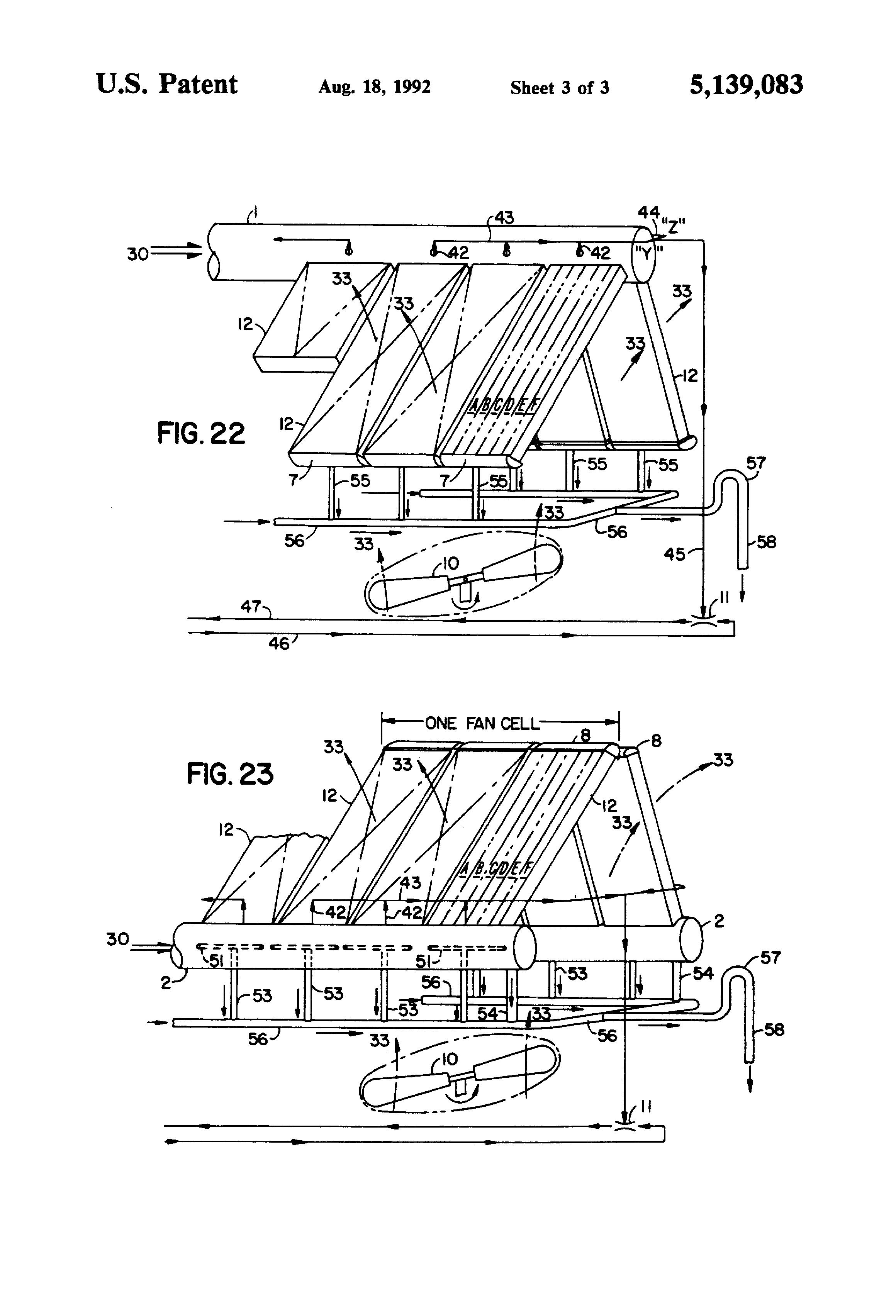 Patent US Air cooled vacuum steam condenser with flow
