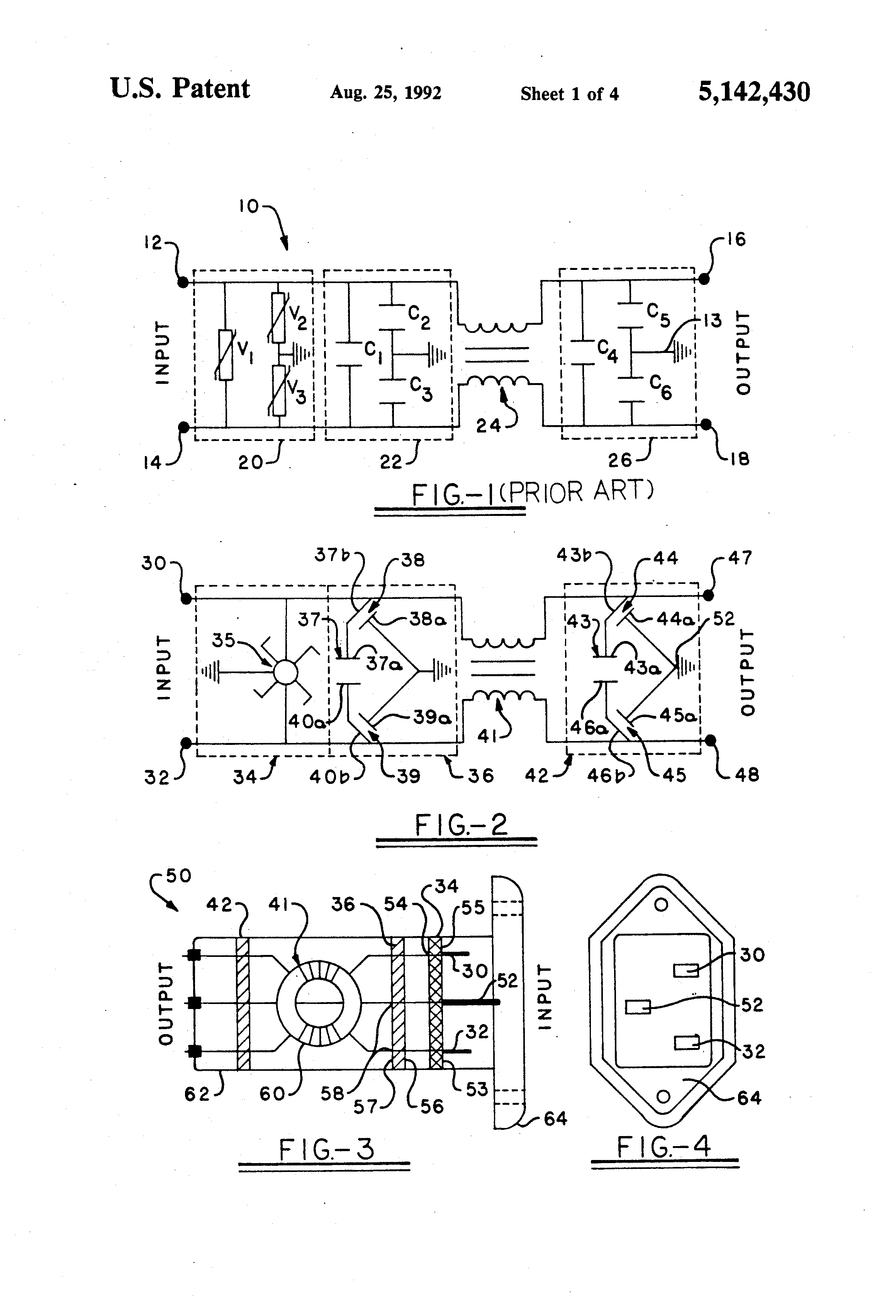 Patent Us5142430 Power Line Filter And Surge Protection Circuit Drawing