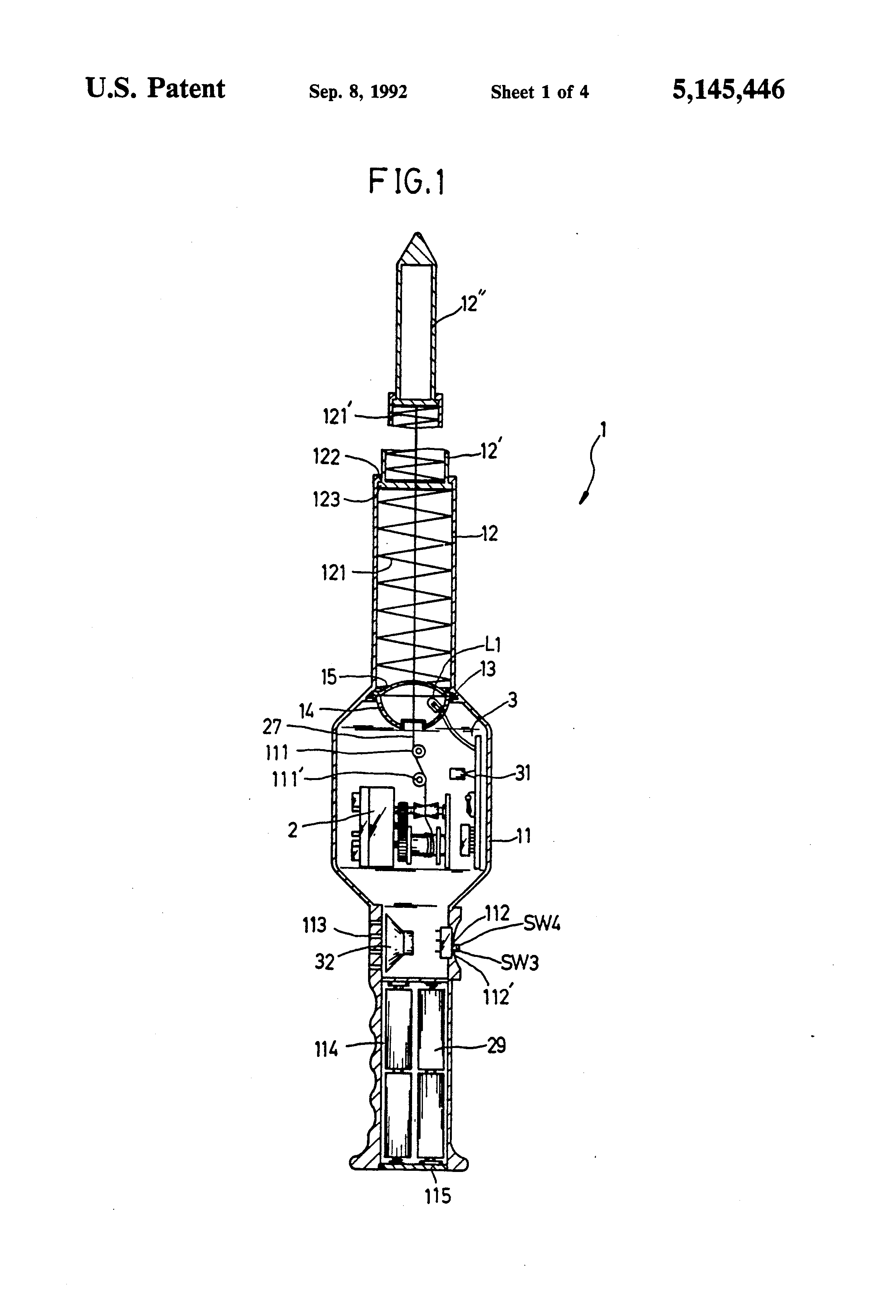 Patent Us5145446 Retractable Toy Sword With Video And Sound Effect Interactive Traffic Lights Circuit Diagram Drawing