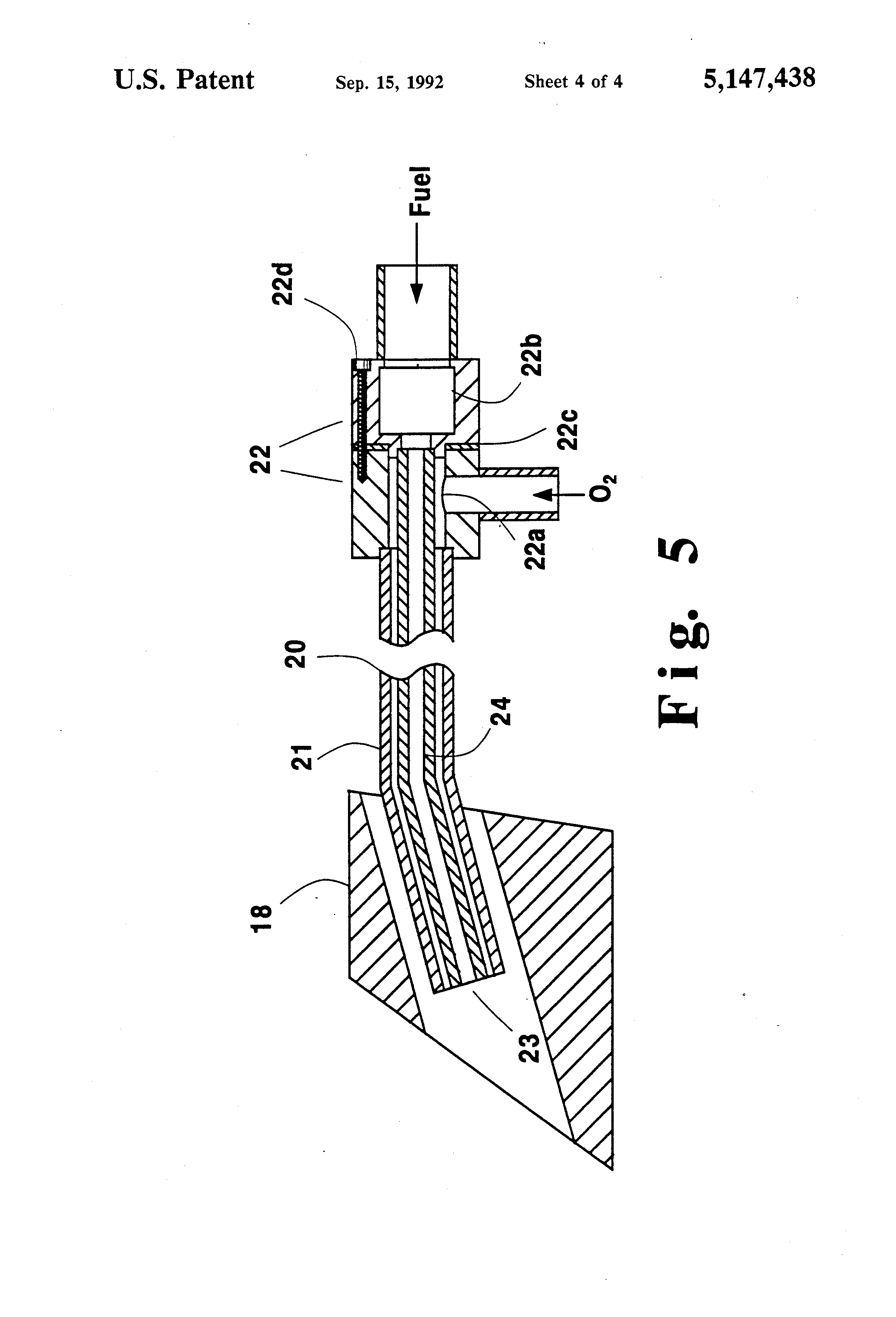 Patent Us5147438 Auxiliary Oxygen Burners Technique In
