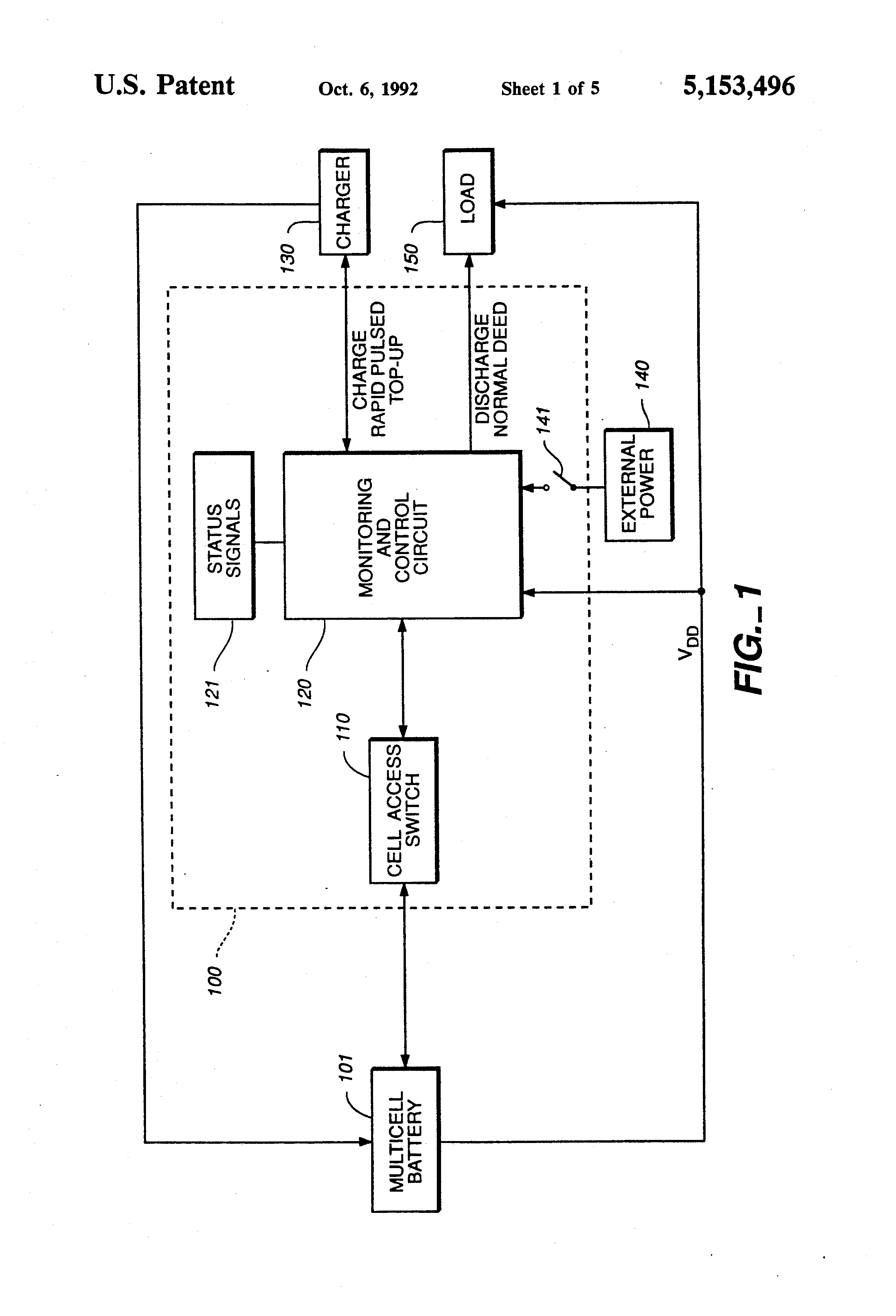 patent us5153496 - cell monitor and control unit for multicell battery