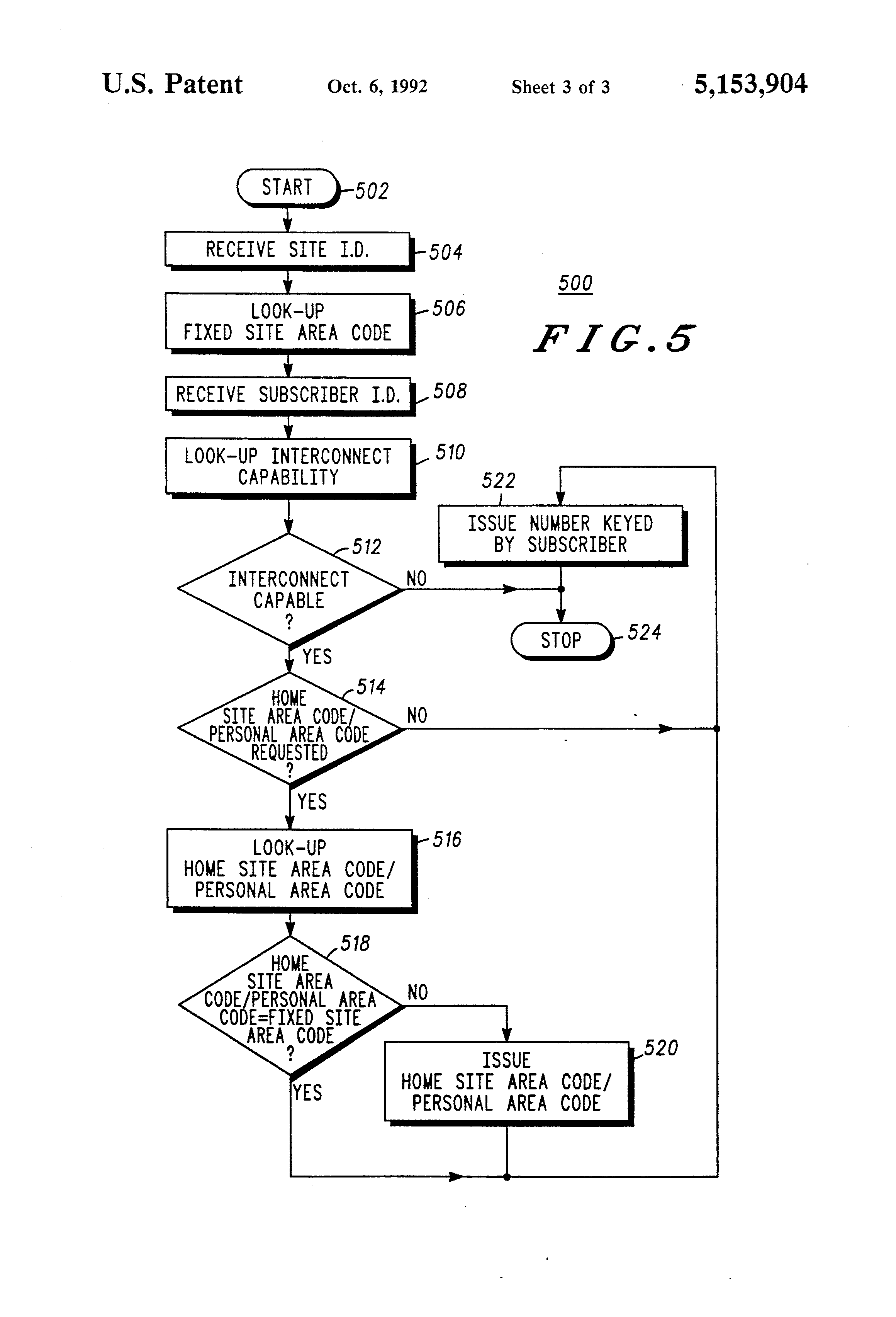 Patent US5153904 Radio communication controller for subscriber