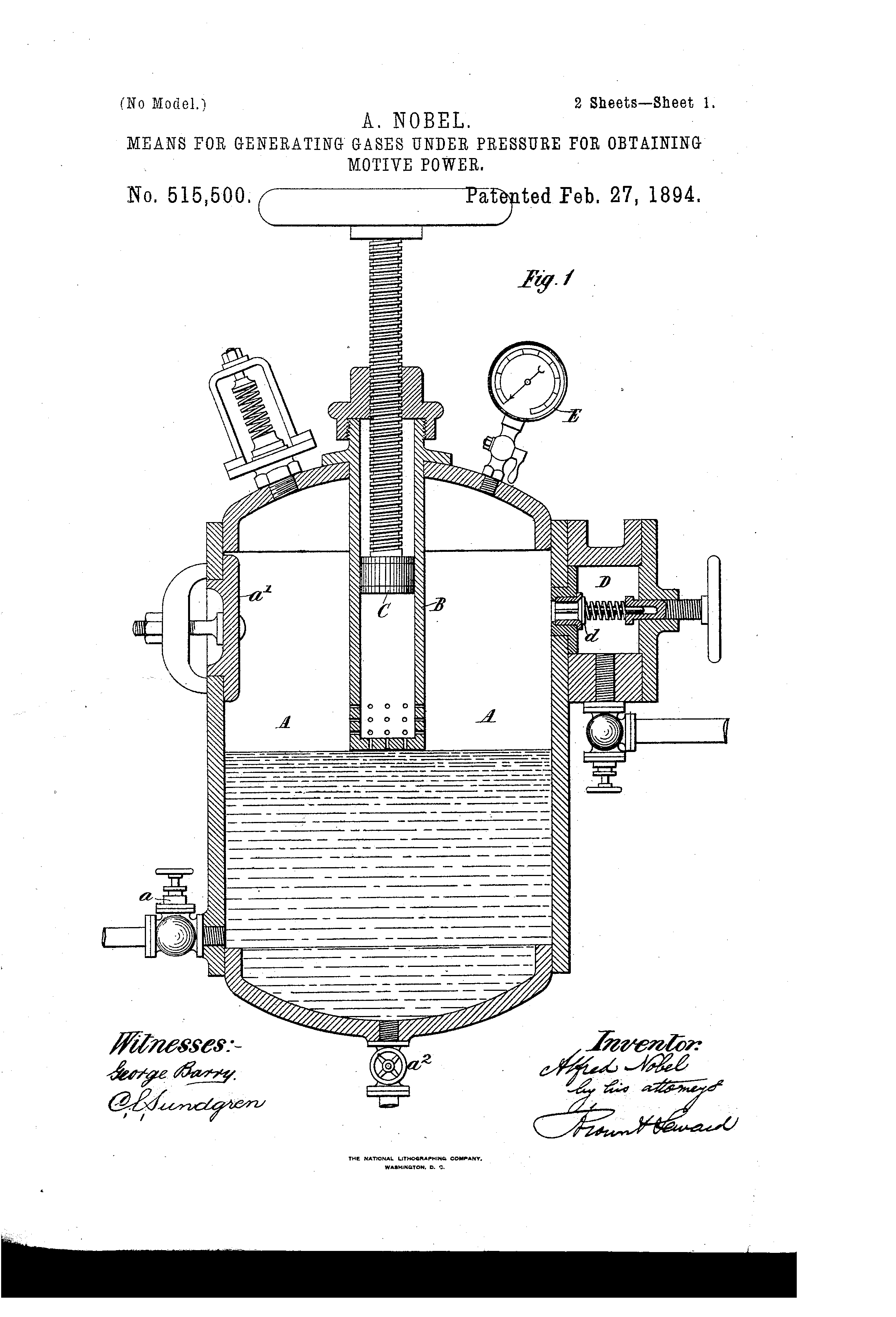 Patent US515500 - Alfred nobel - Google Patents