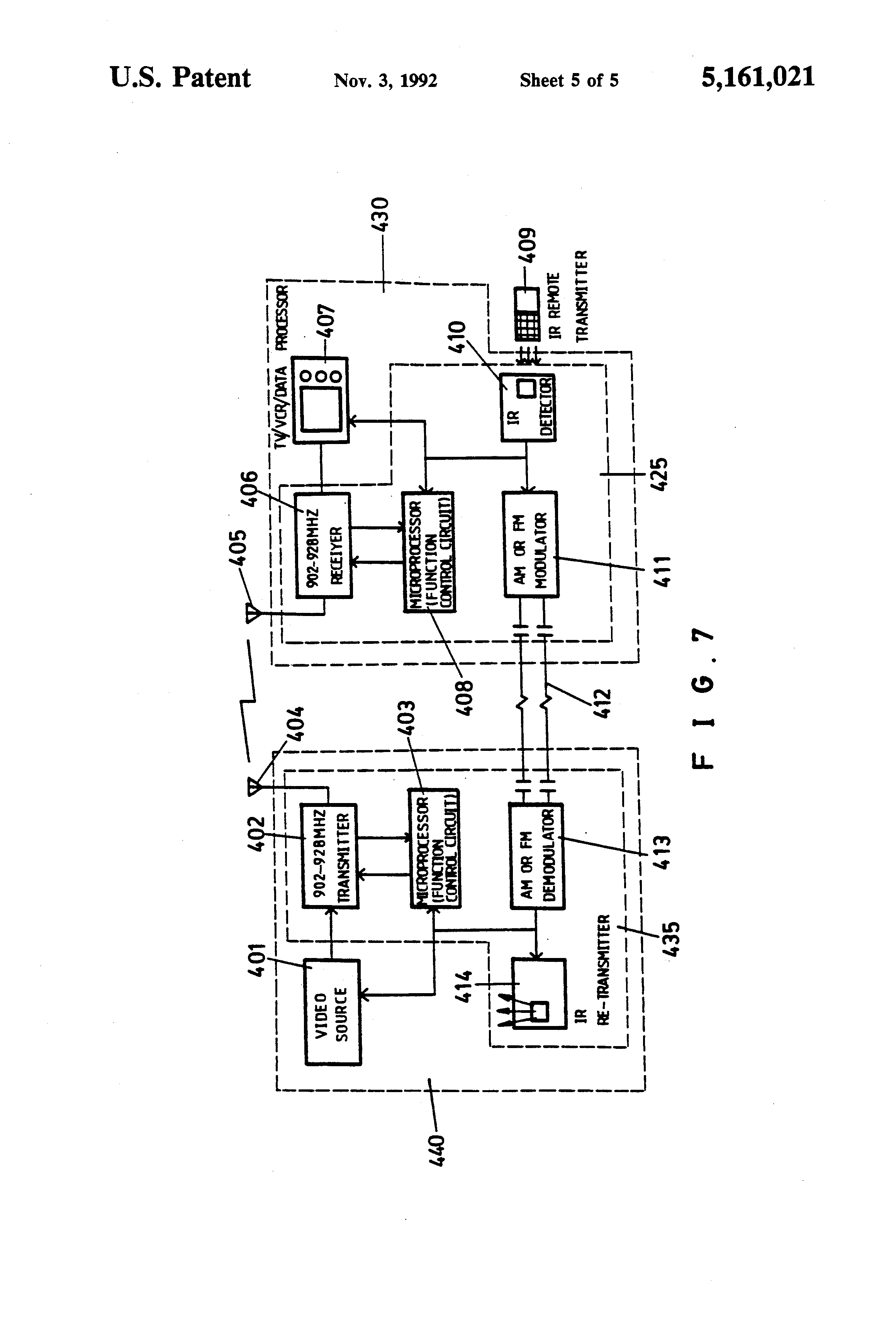 Patent Us5161021 Wireless Video Audio Signal Or Data Transmission Tv Infrared Remote Control Launch Circuit Remotecontrolcircuit Drawing