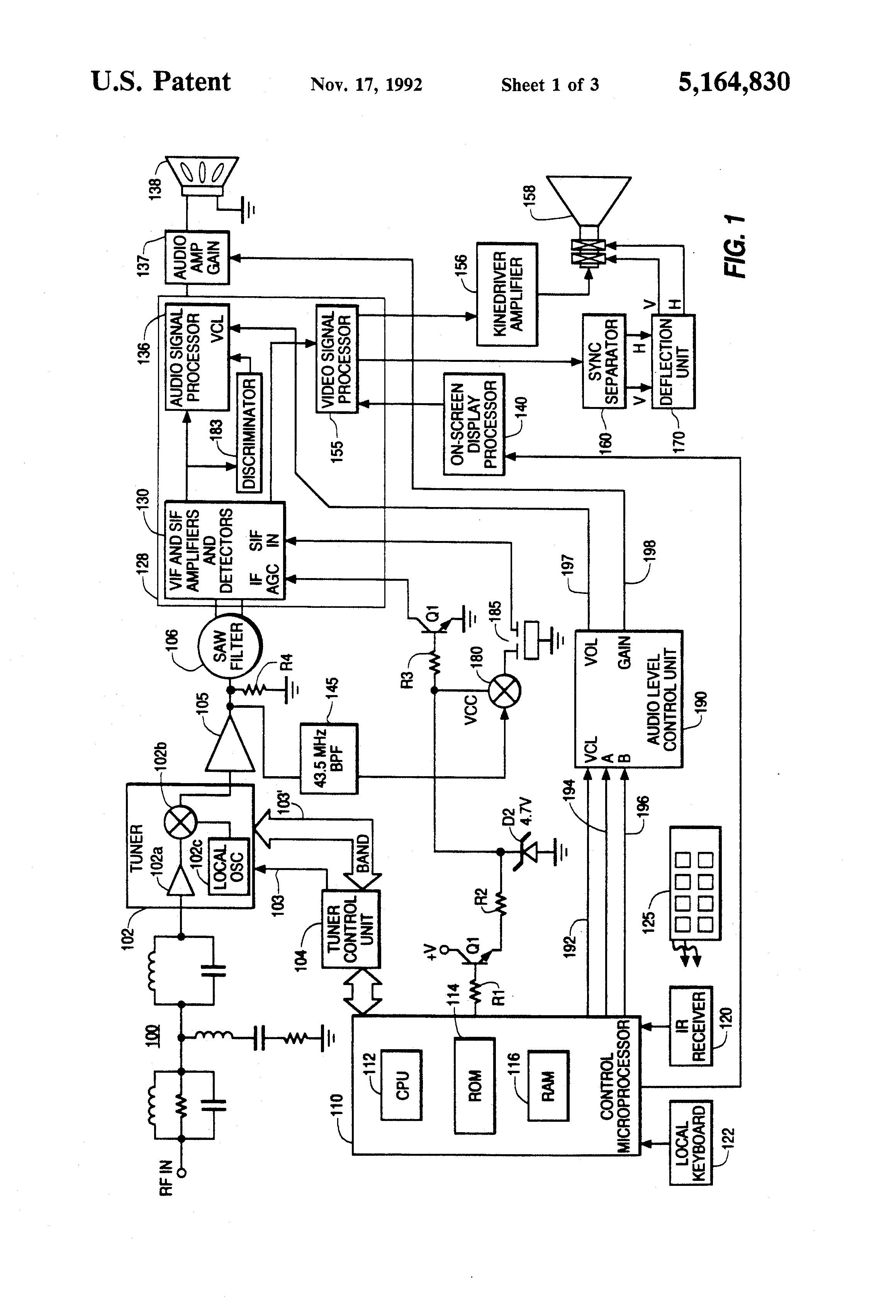 Patent US5164830 - Audio level equalization of television