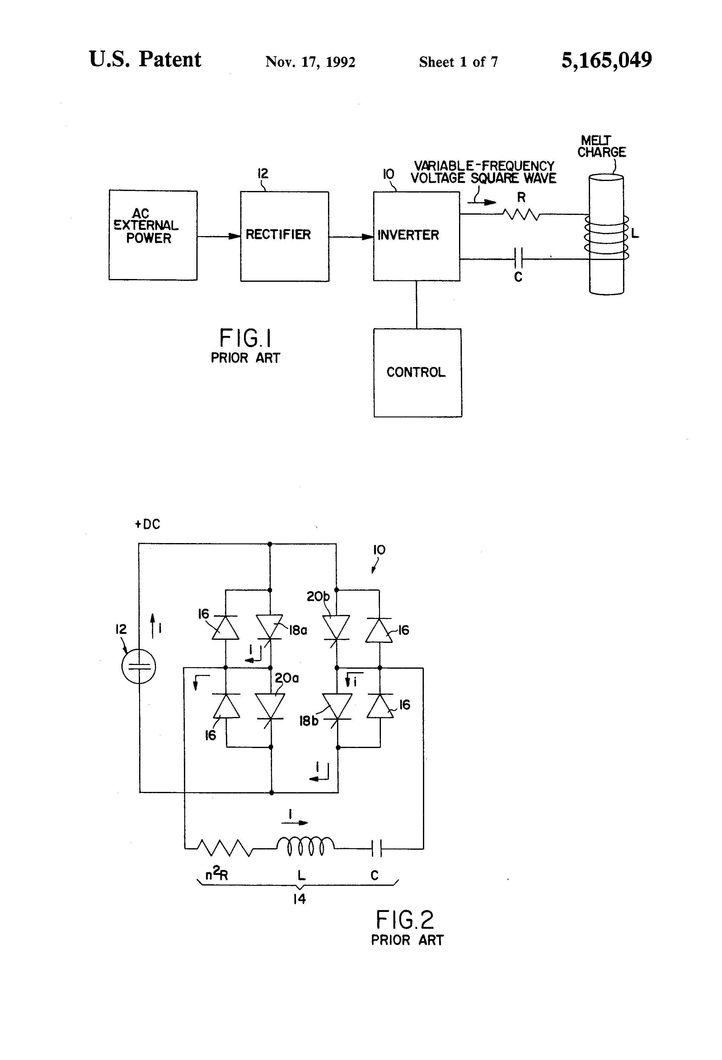 Patente Us5165049 Phase Difference Control Circuit For Induction Besides Dc Ac Inverter Diagram Also Converter Patent Drawing