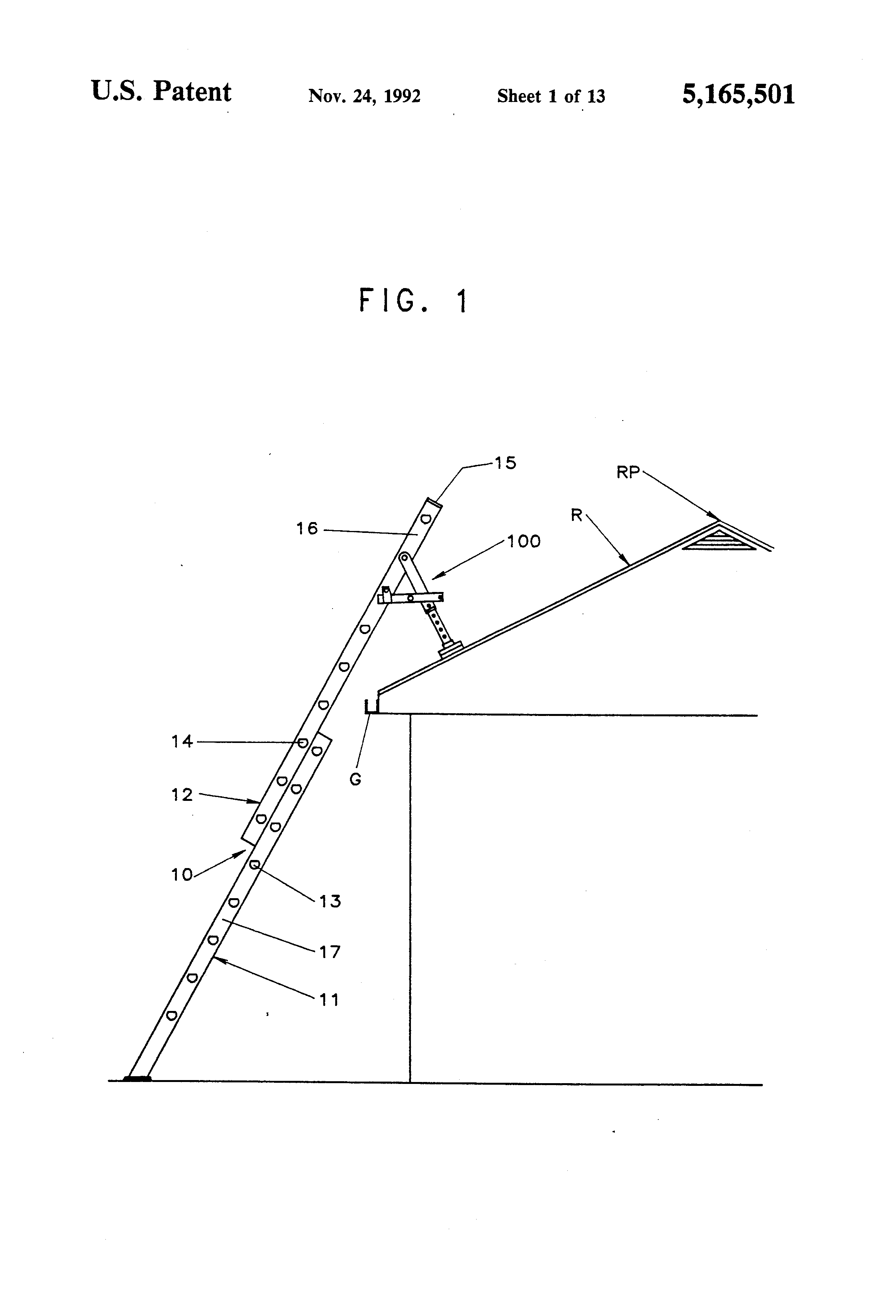 Patent Us5165501 Ladder Support Attachment Google Patents