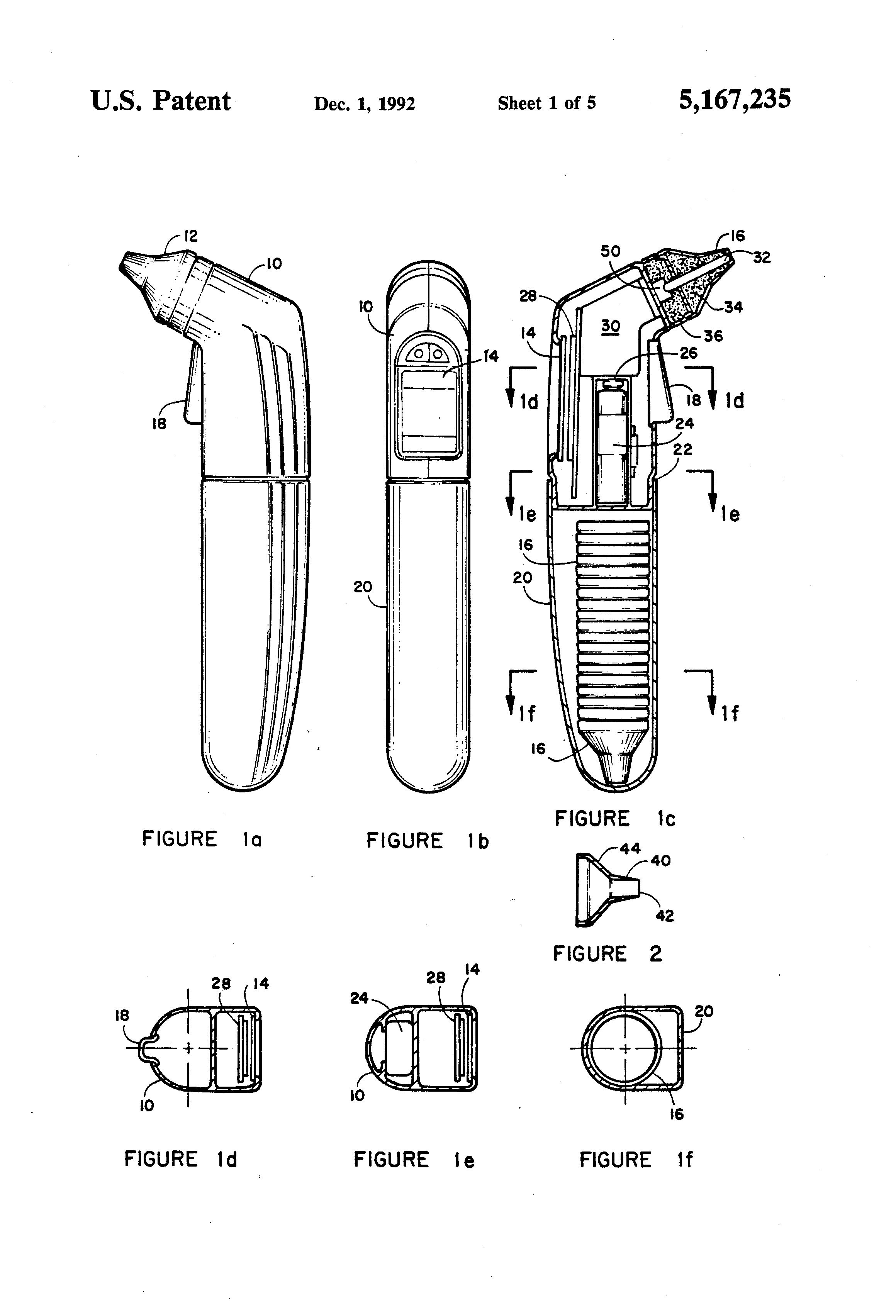 patent us5167235 - fiber optic ear thermometer