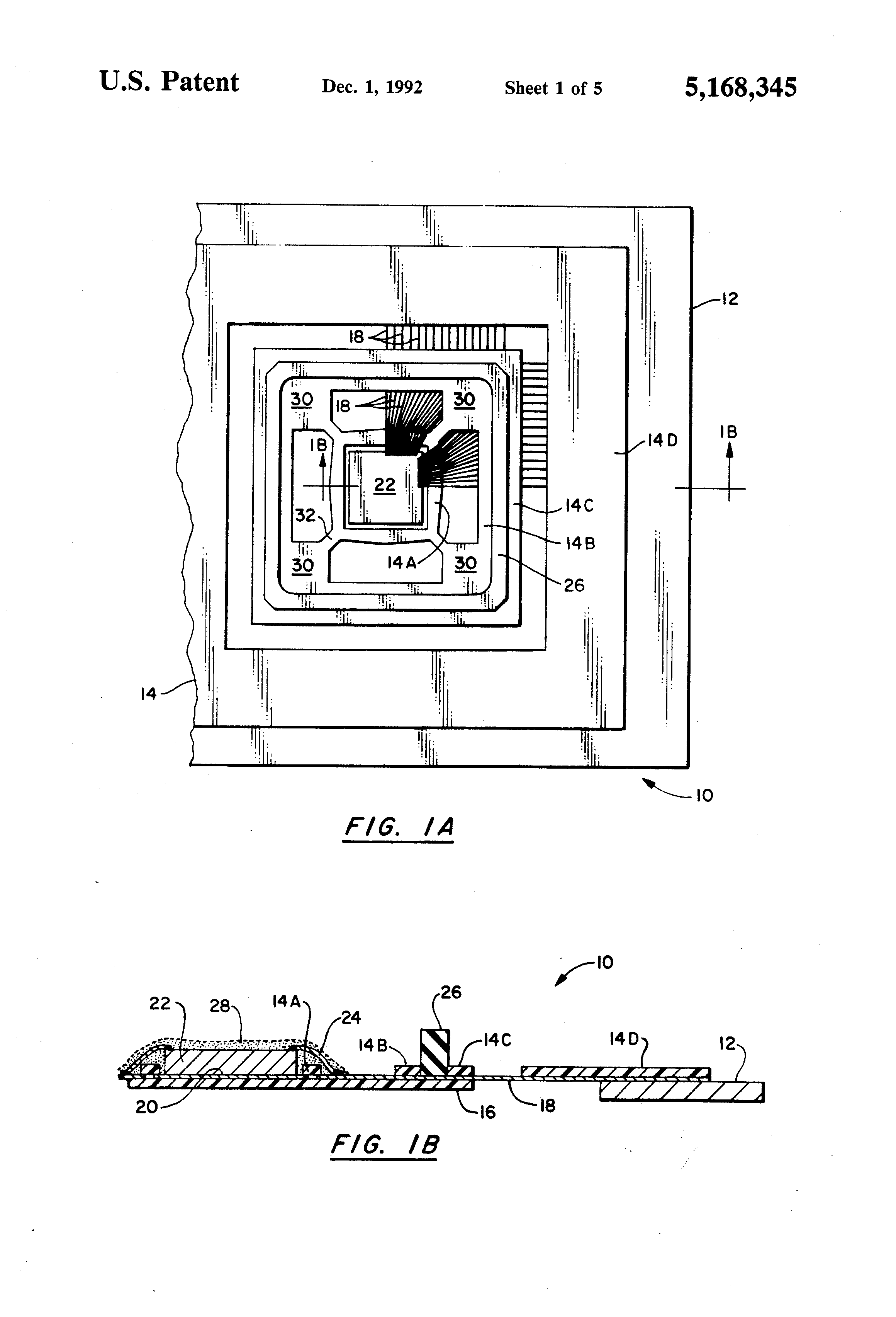 Patent Us5168345 Semiconductor Device Having A Universal Die Size Smallscale Integrated Circuit With Bond Wires Attached In The Drawing