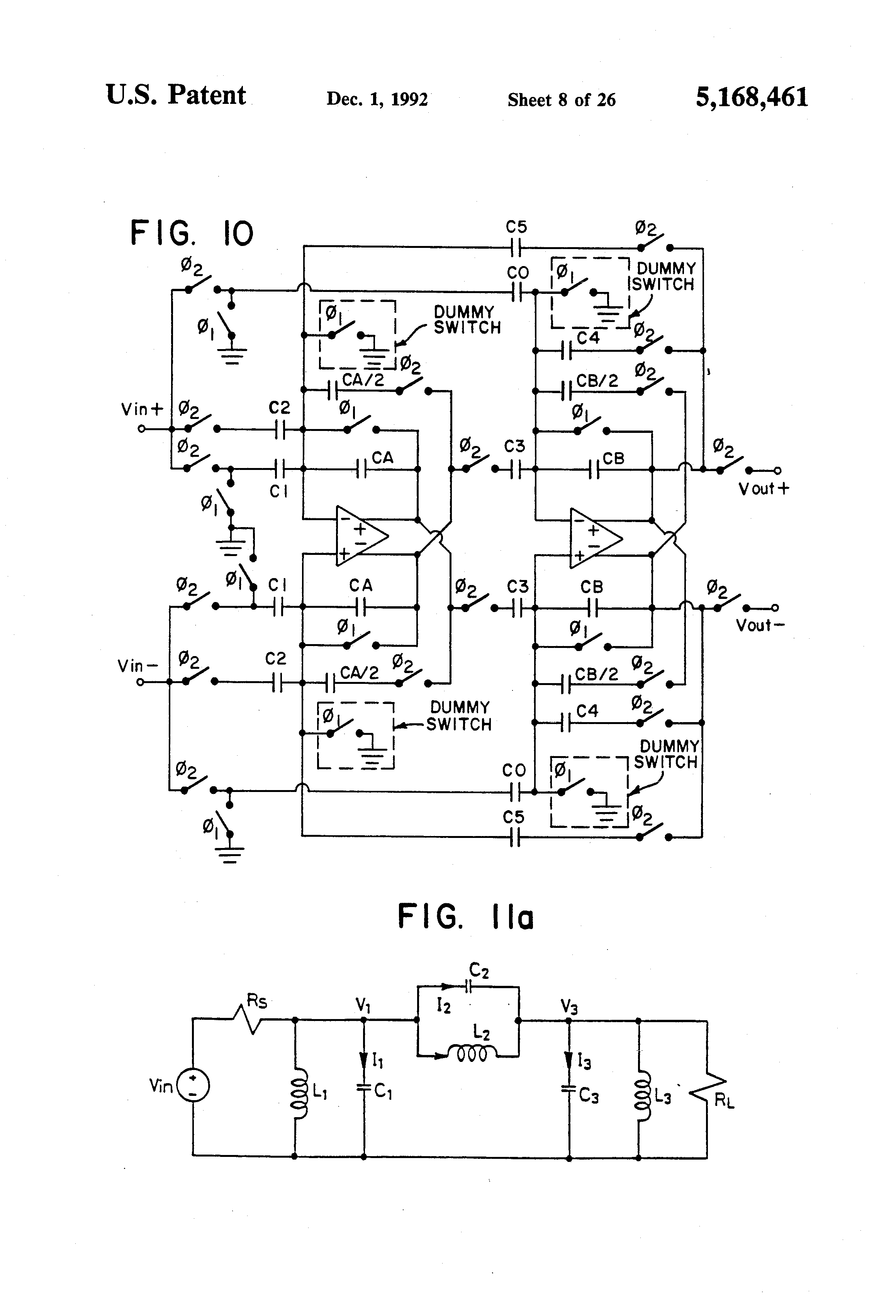 Patent Us5168461 Switched Capacitor Differentiators And First Lowvoltage Fully Differential Cmos Switchedcapacitor Amplifier Drawing