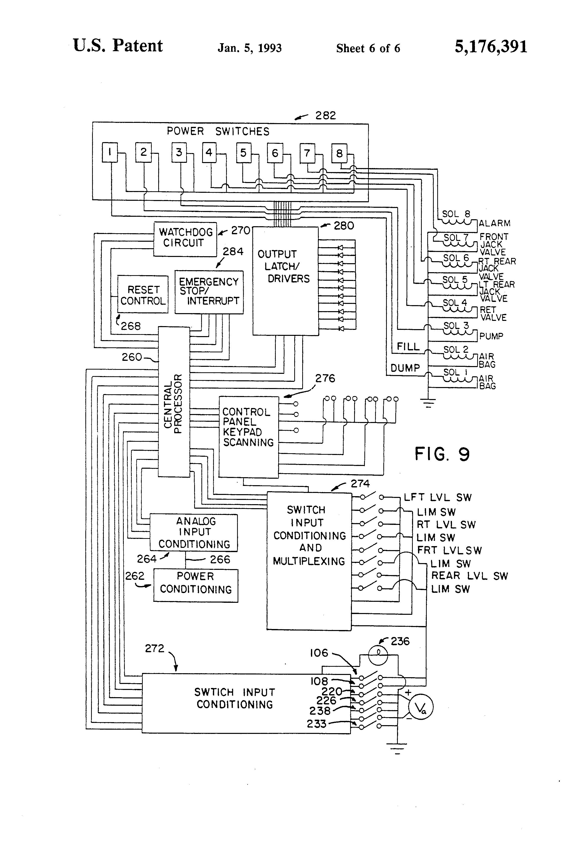 hydraulic bale spike wiring diagram hydraulic leveling jacks wiring diagram patent us5176391 - vehicle leveling system - google patents