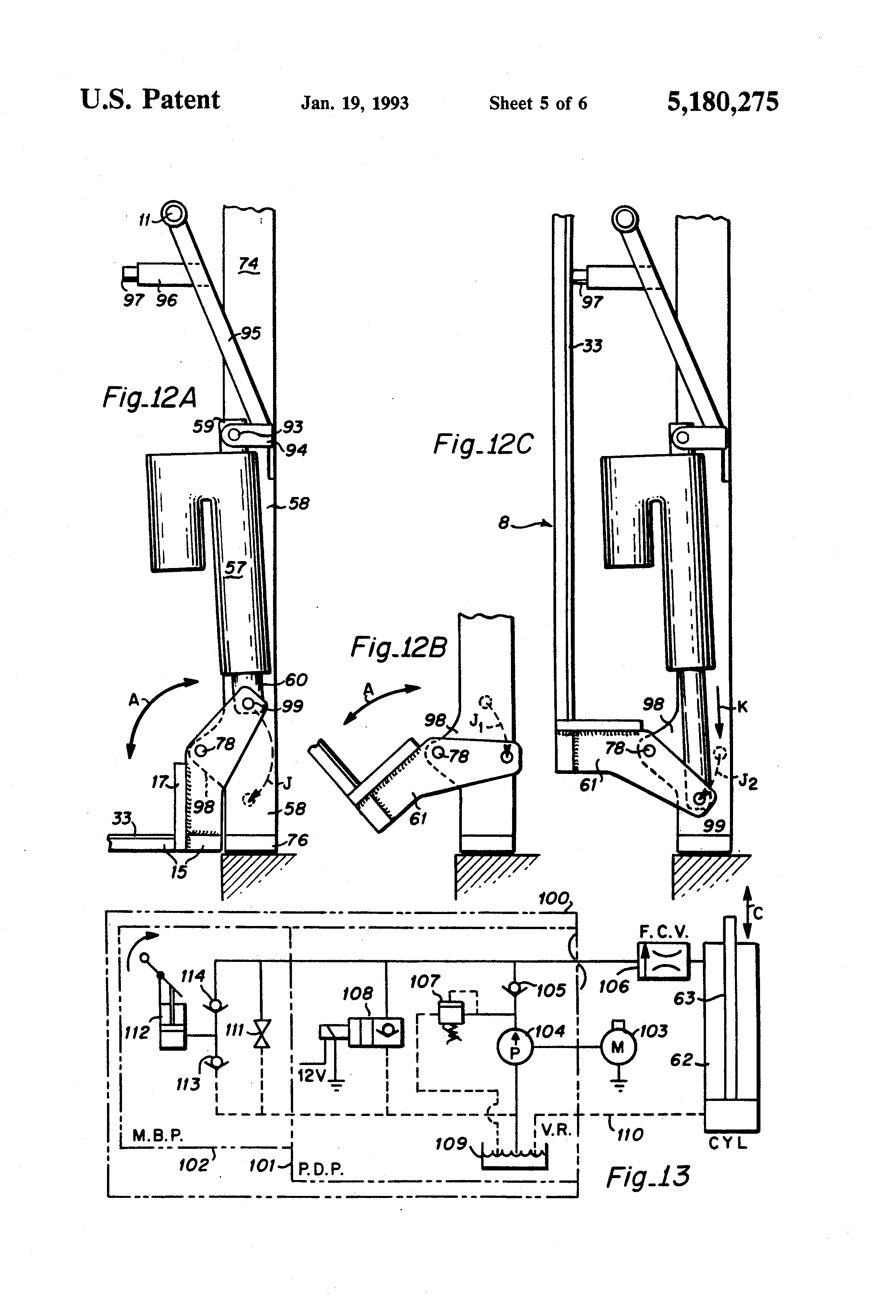 Patent Us5180275 Rotary Bus Lift With Power Stowable