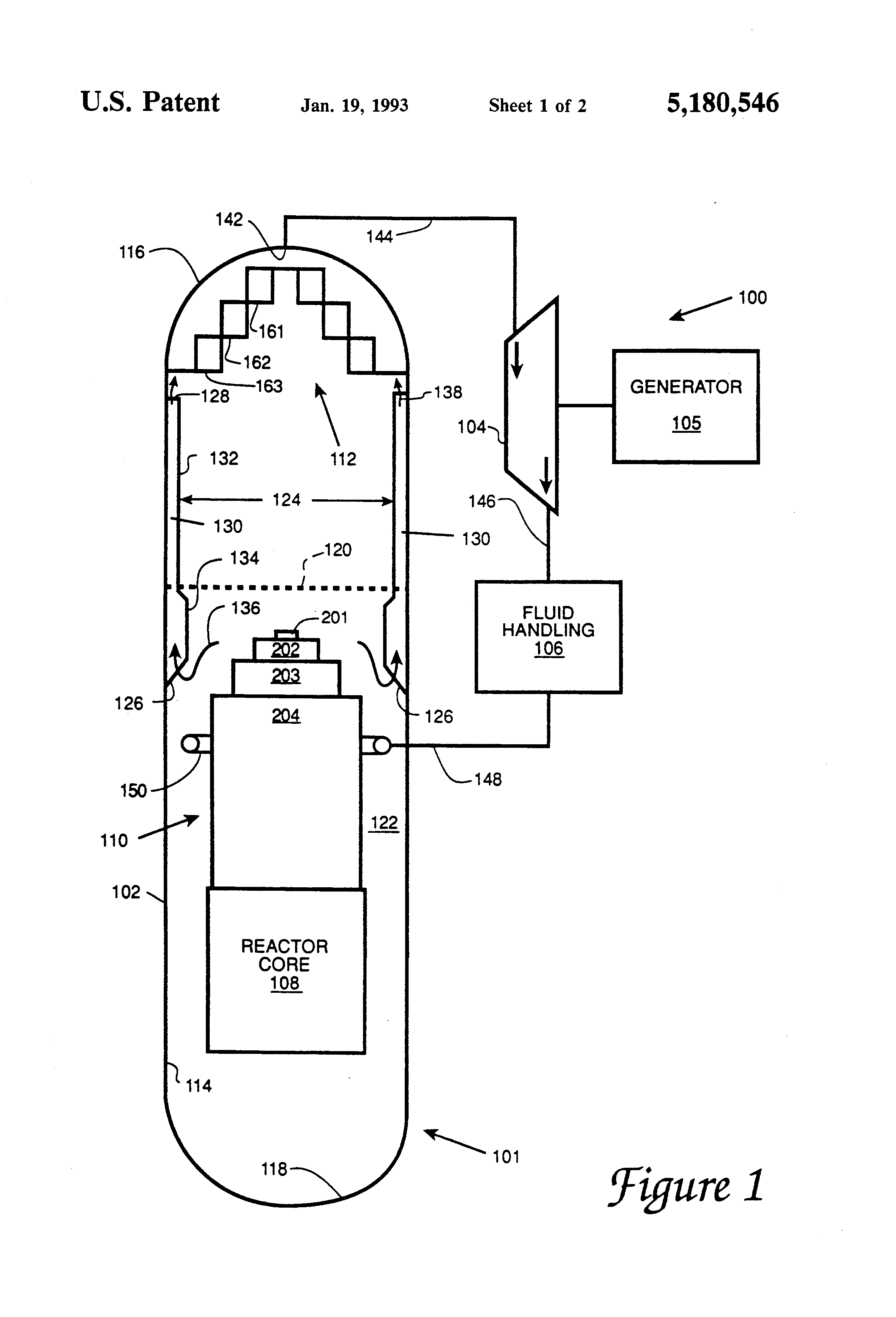 Patent Us5180546 Boiling Water Reactor With Downcomer Steam Power Plant Diagram Drawing