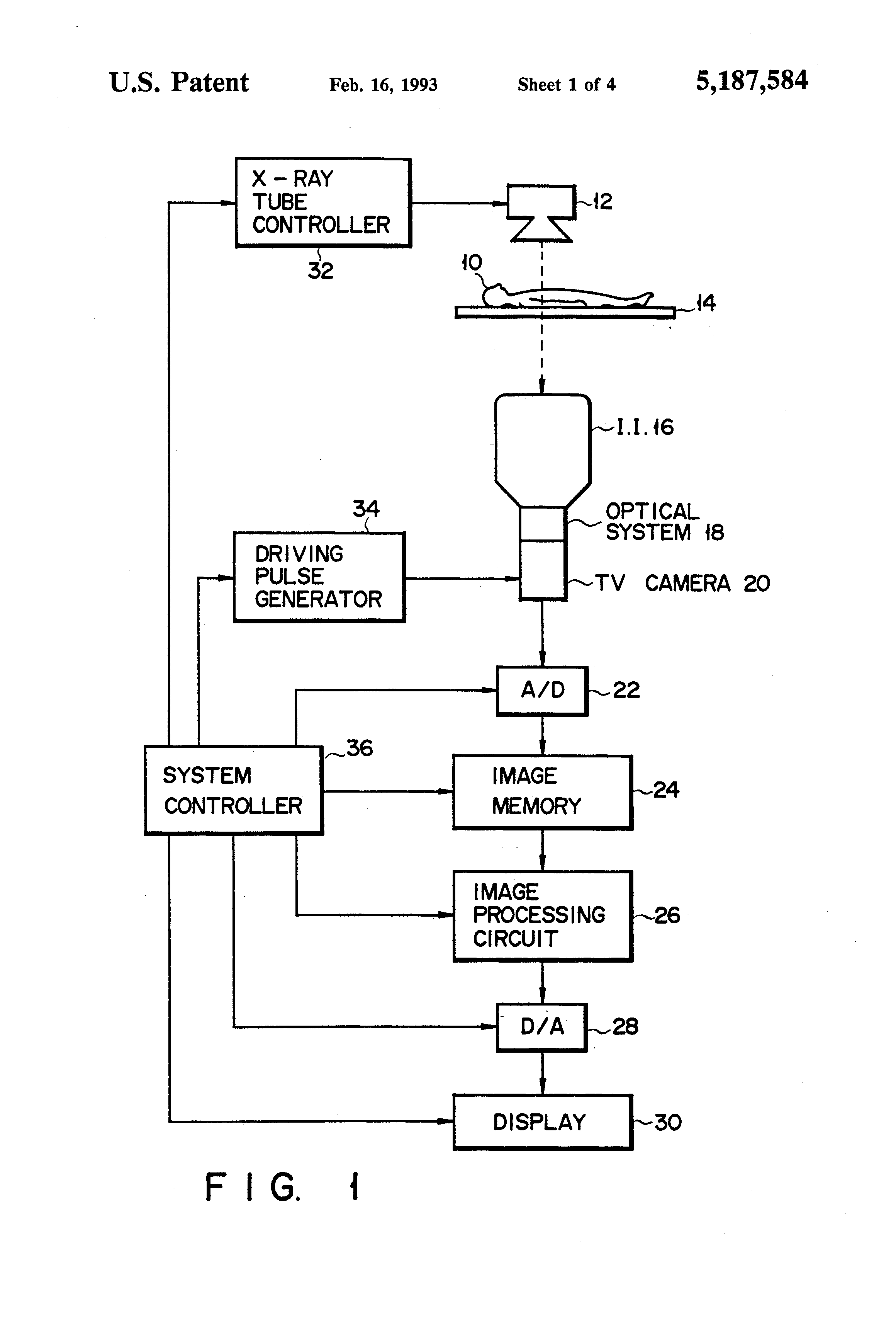 Patent us5187584 x ray fluoroscopic apparatus using a solid state patent drawing ccuart Choice Image