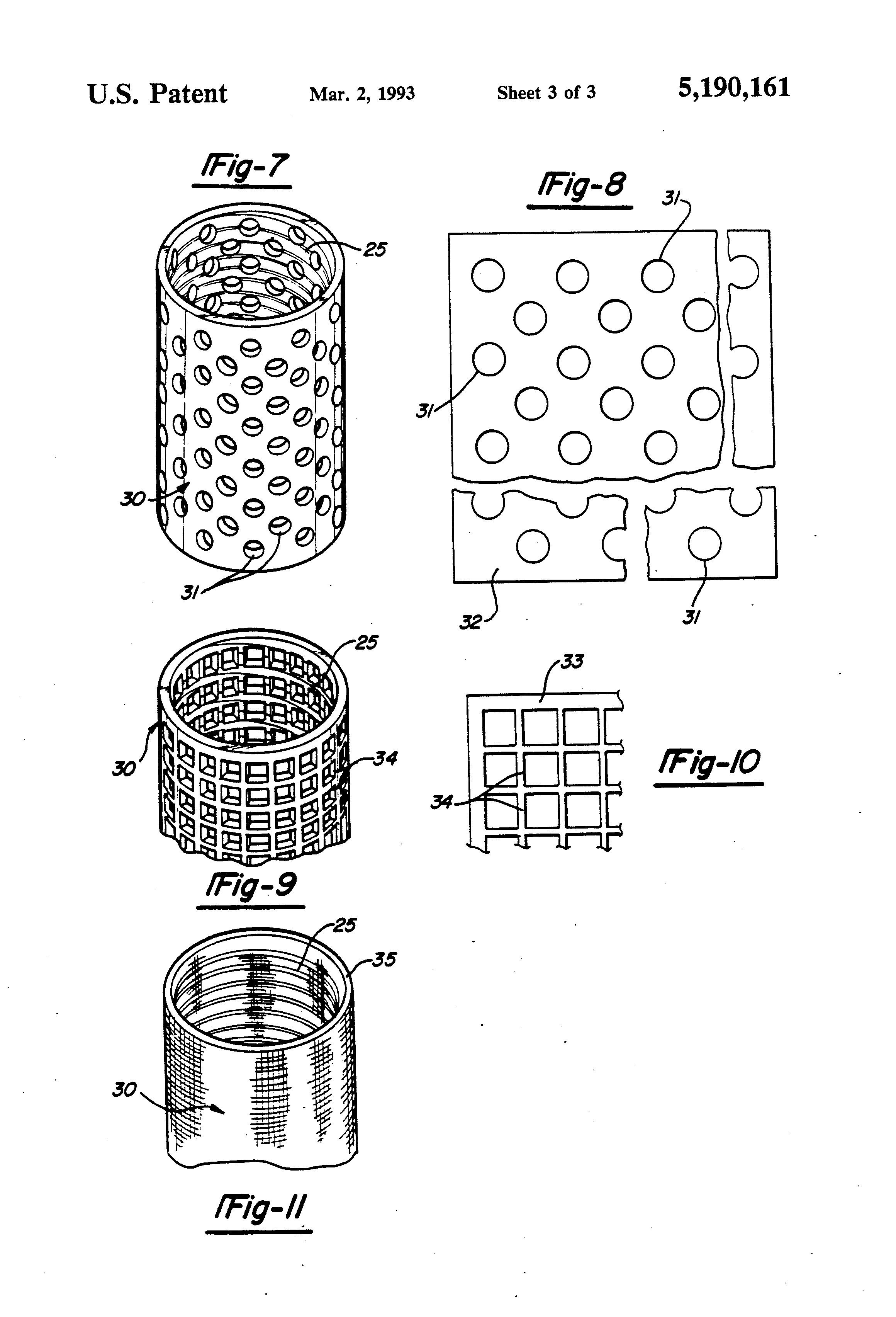 patent us5190161 - cylindrical element for filtering and separation