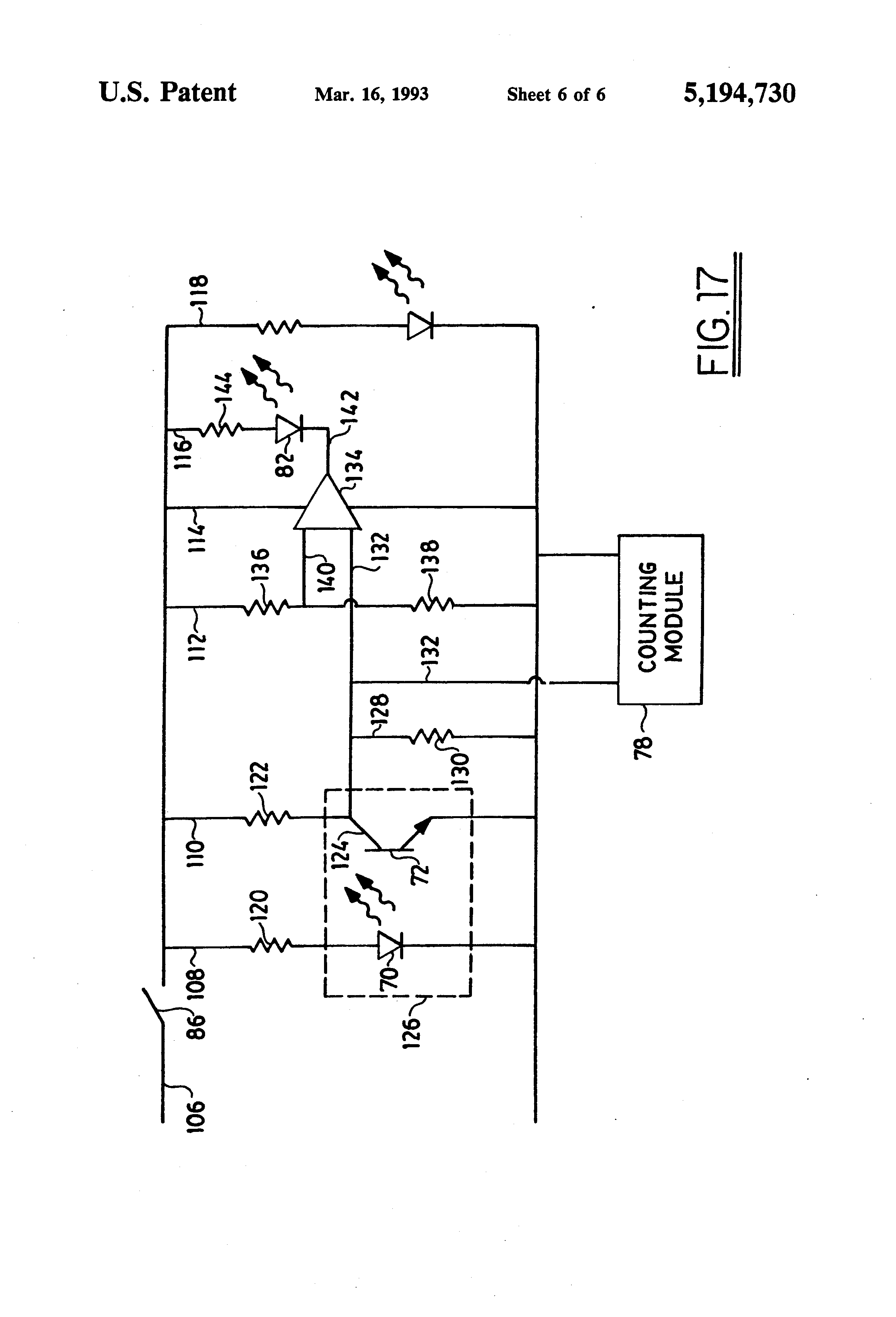 Patent Us5194730 Mobile Electronic Lineal Measurement Device With Opticalpickuptachometer Schematic Drawing
