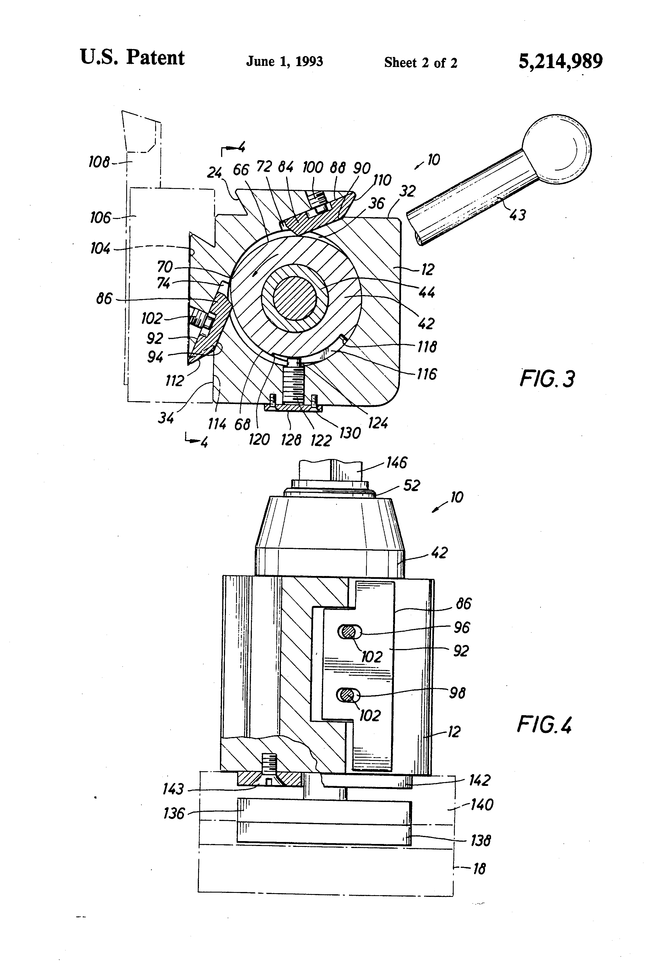 Patent Us5214989 Quick Setting And Release Machine Tool