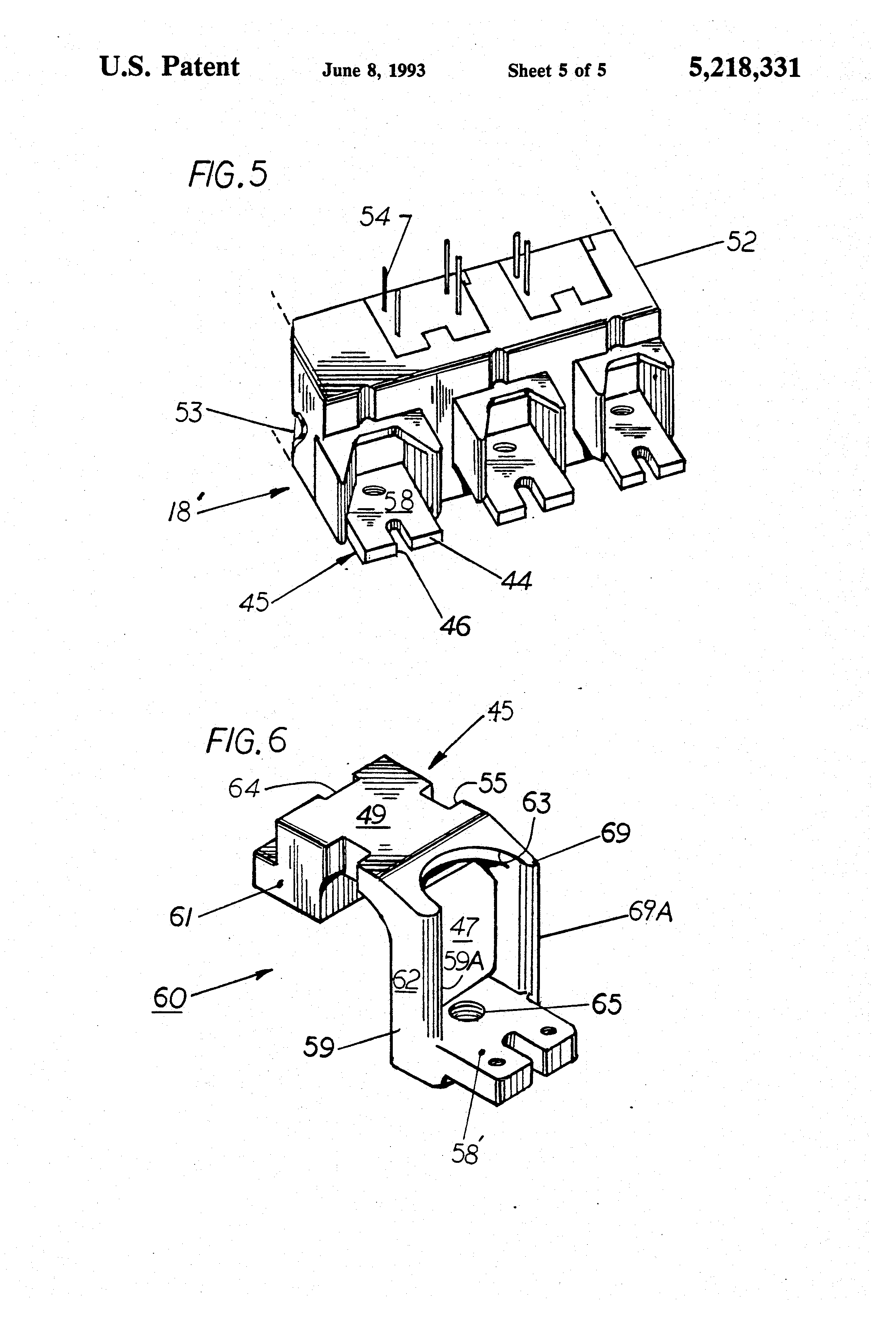patent us5218331 - molded case circuit breaker with interchangeable trip circuits