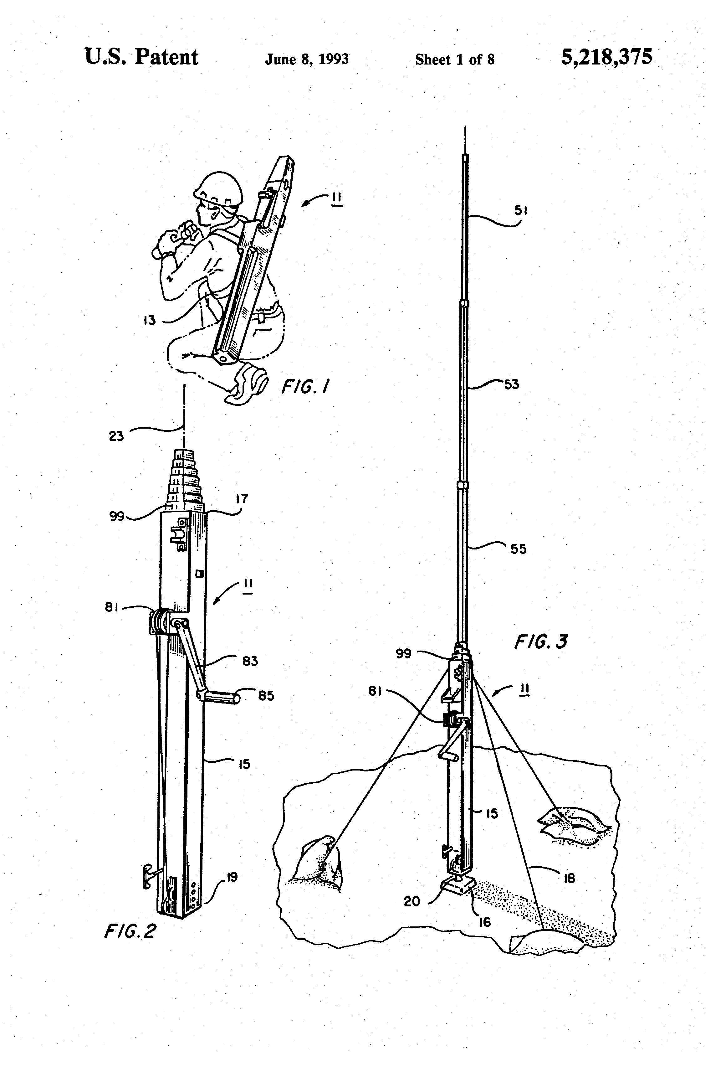 Patent US5218375 - Rapidly extendible and retractable antenna mast