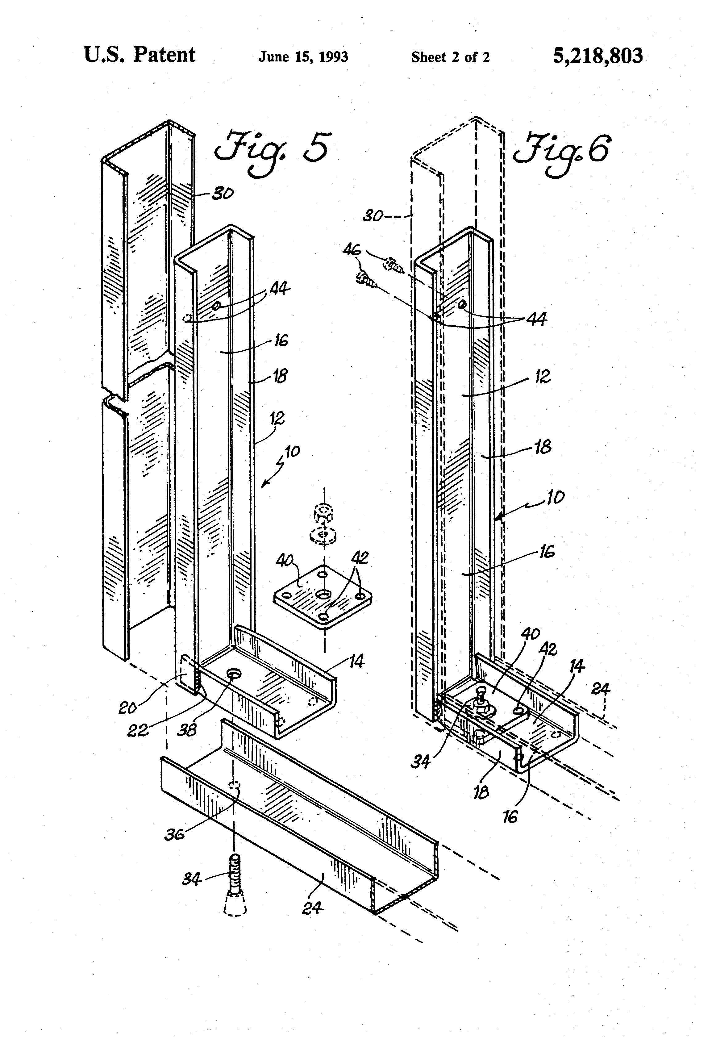 Patent us5218803 method and means for reinforcing a steel stud wall