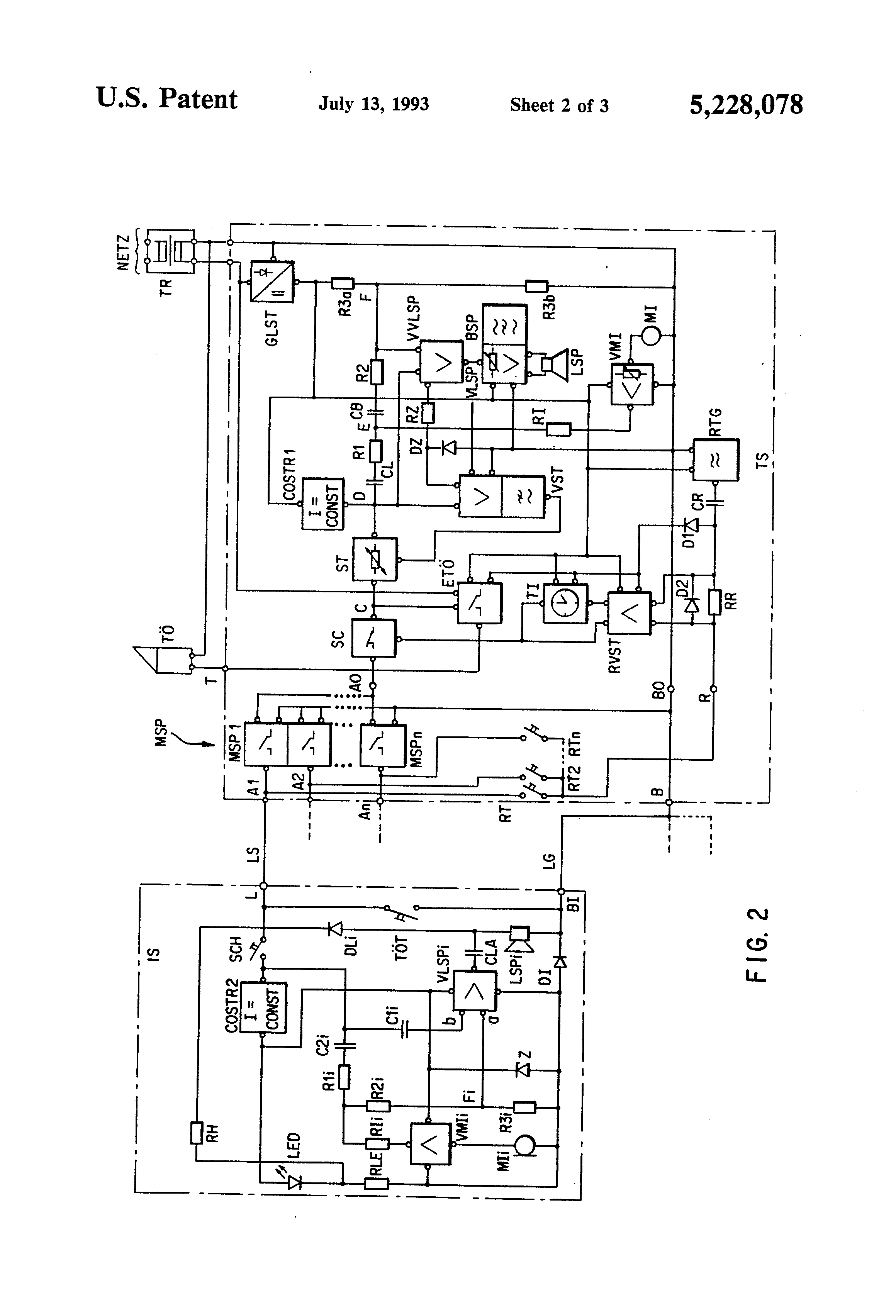 US5228078 2 patent us5228078 two wire intercom with hands free function 3 wire intercom wiring diagram at cos-gaming.co