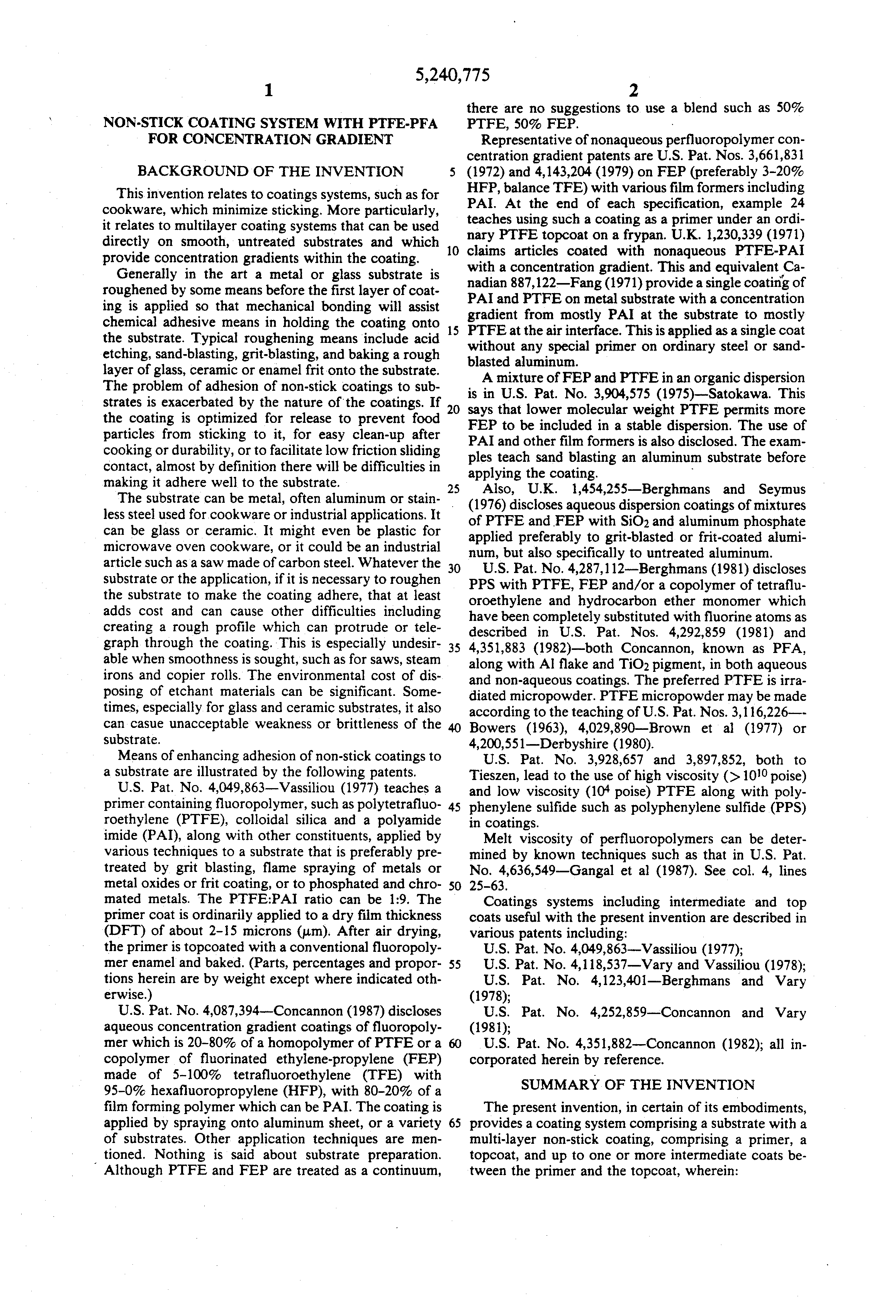 Patent Us5240775 Non Stick Coating System With Ptfe Pfa