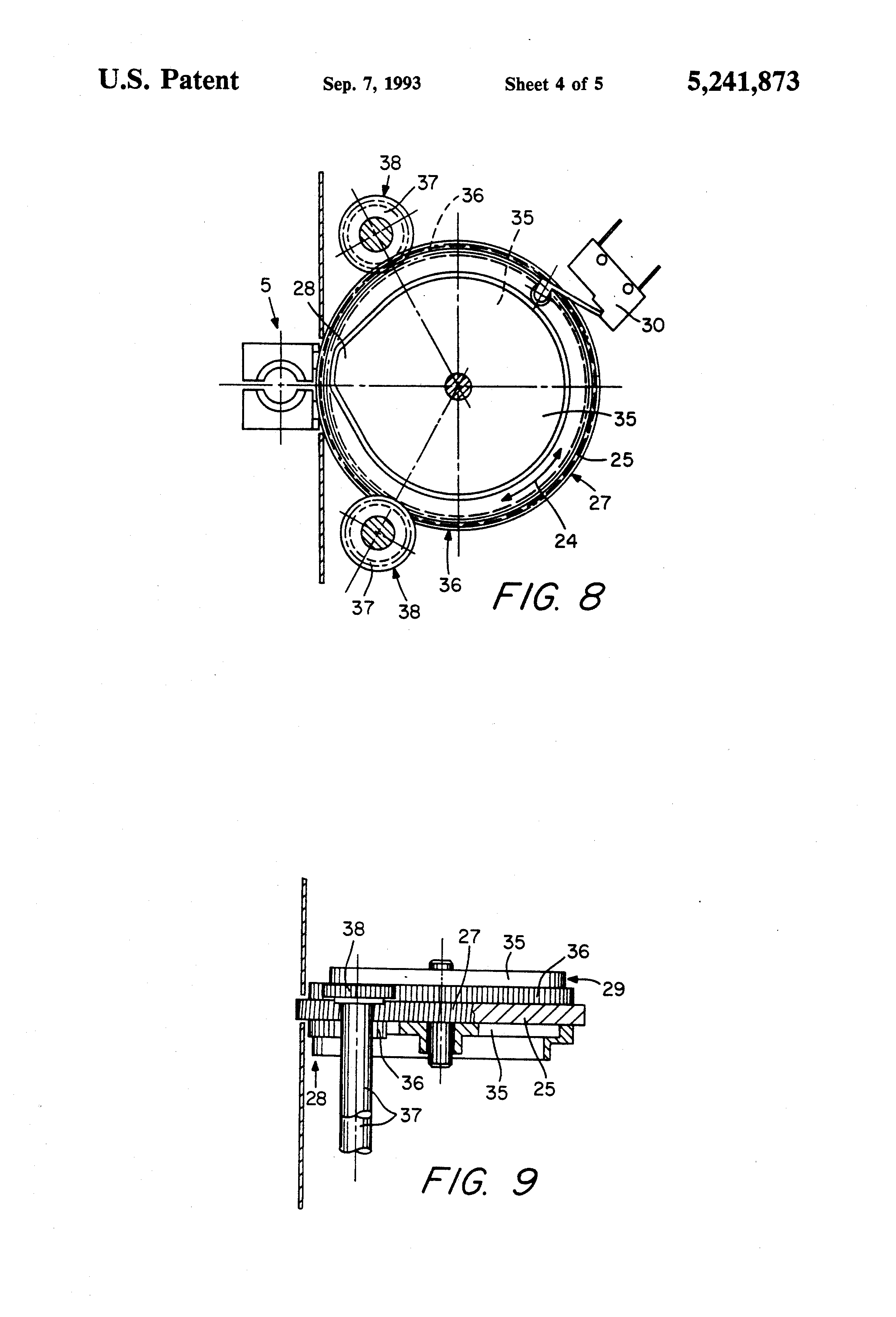 patent us5241873 - transmission that converts a rotary into a translational motion