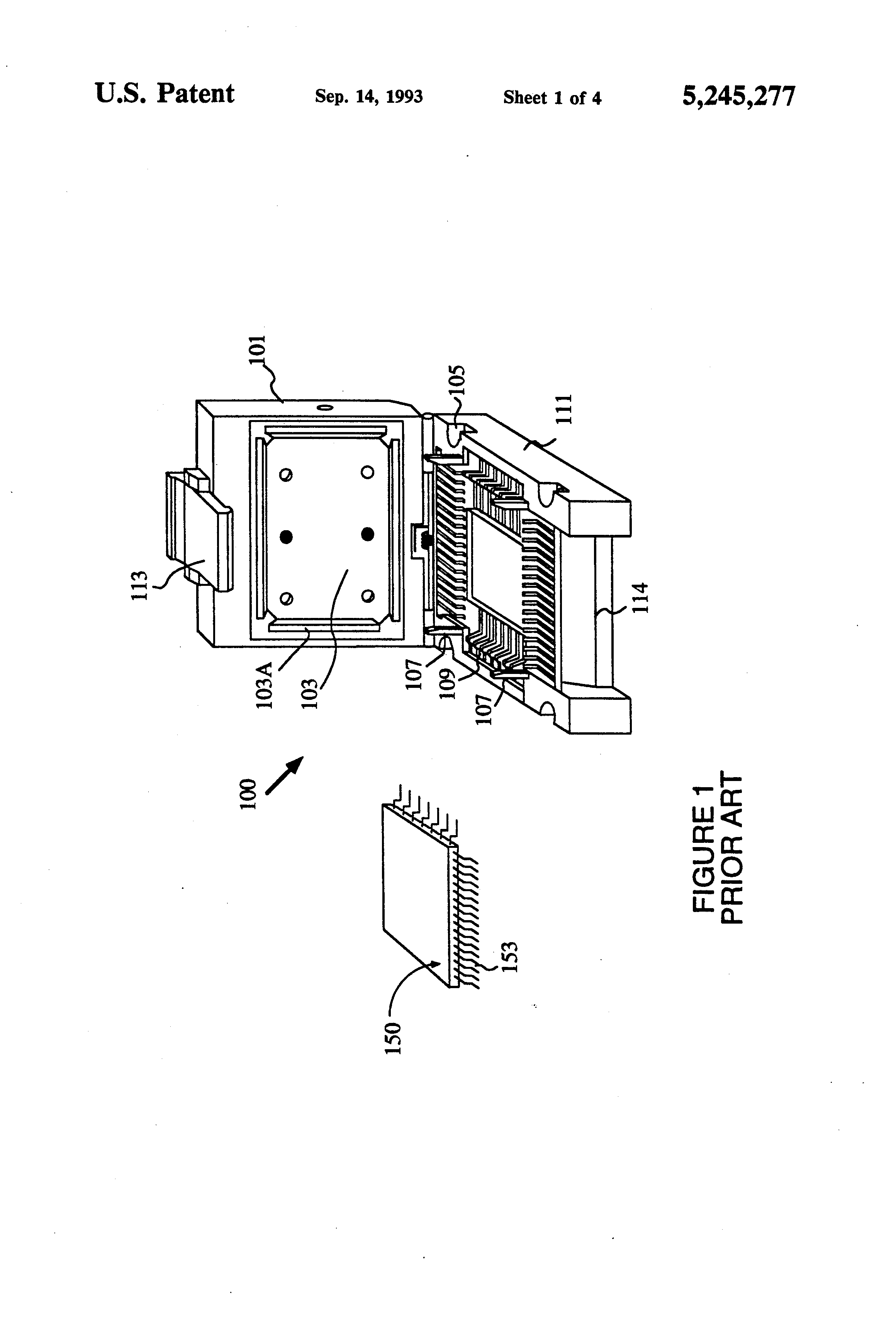 patent us5245277 - clamp for testing used integrated circuit devices