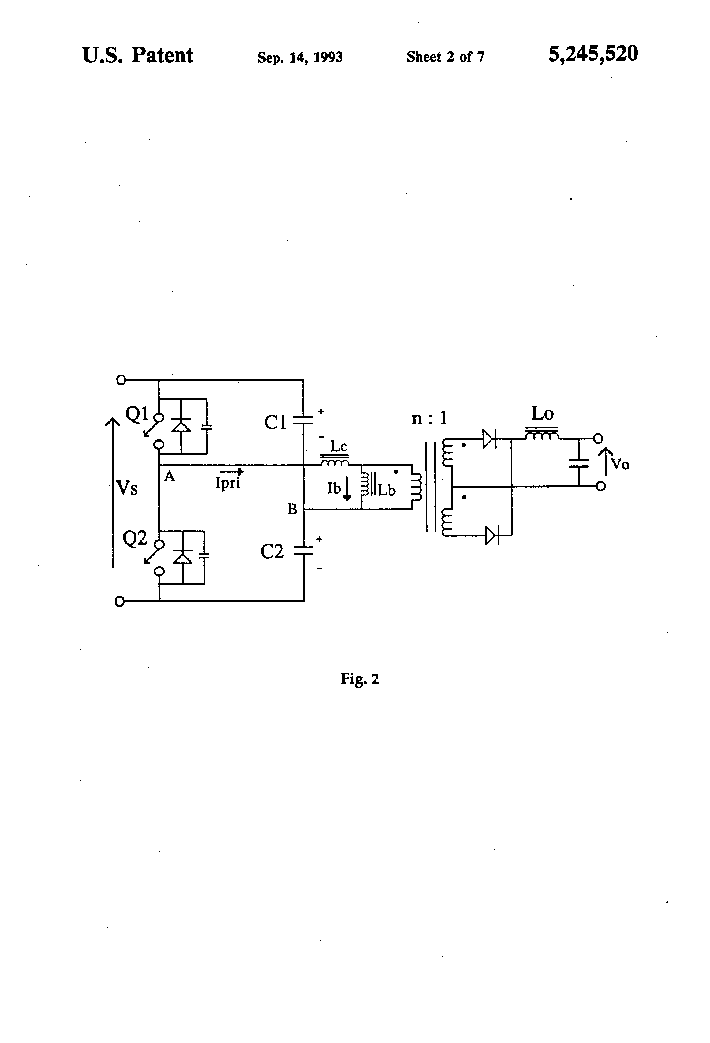 Patent Us5245520 Asymmetrical Duty Cycle Power Converter Google Efficient Regulated Stepup Circuit Diagram Tradeofic Drawing